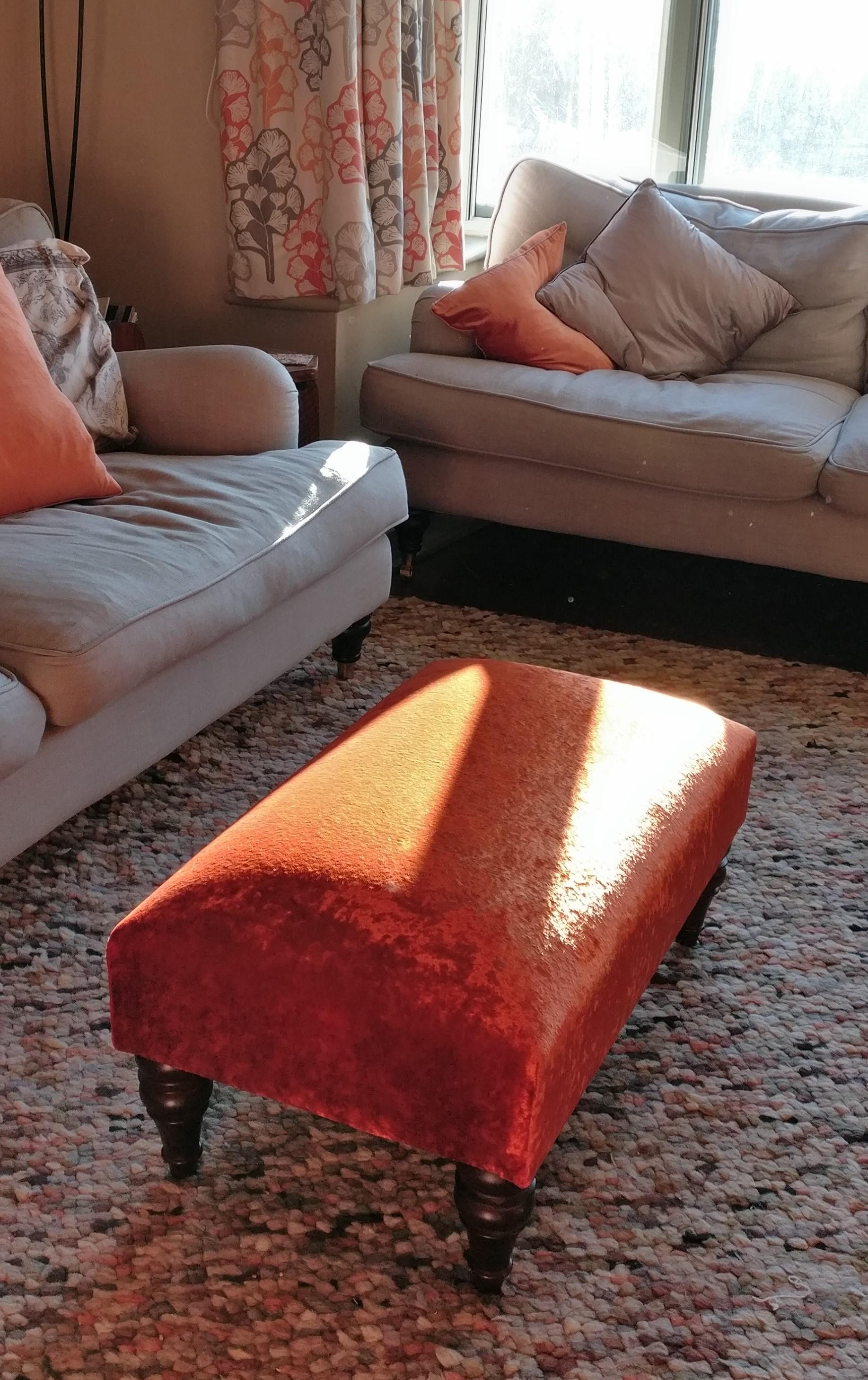 Grist & Twine Upholstery: Footstool reupholstered in orange crushed velvet