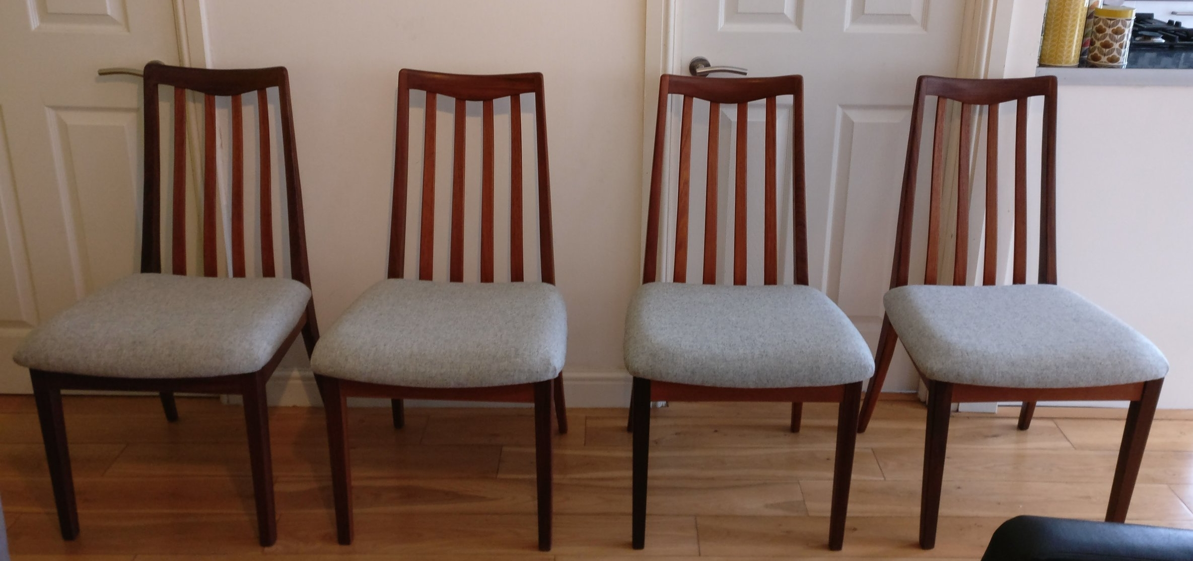 Reupholstered G Plan dining chairs