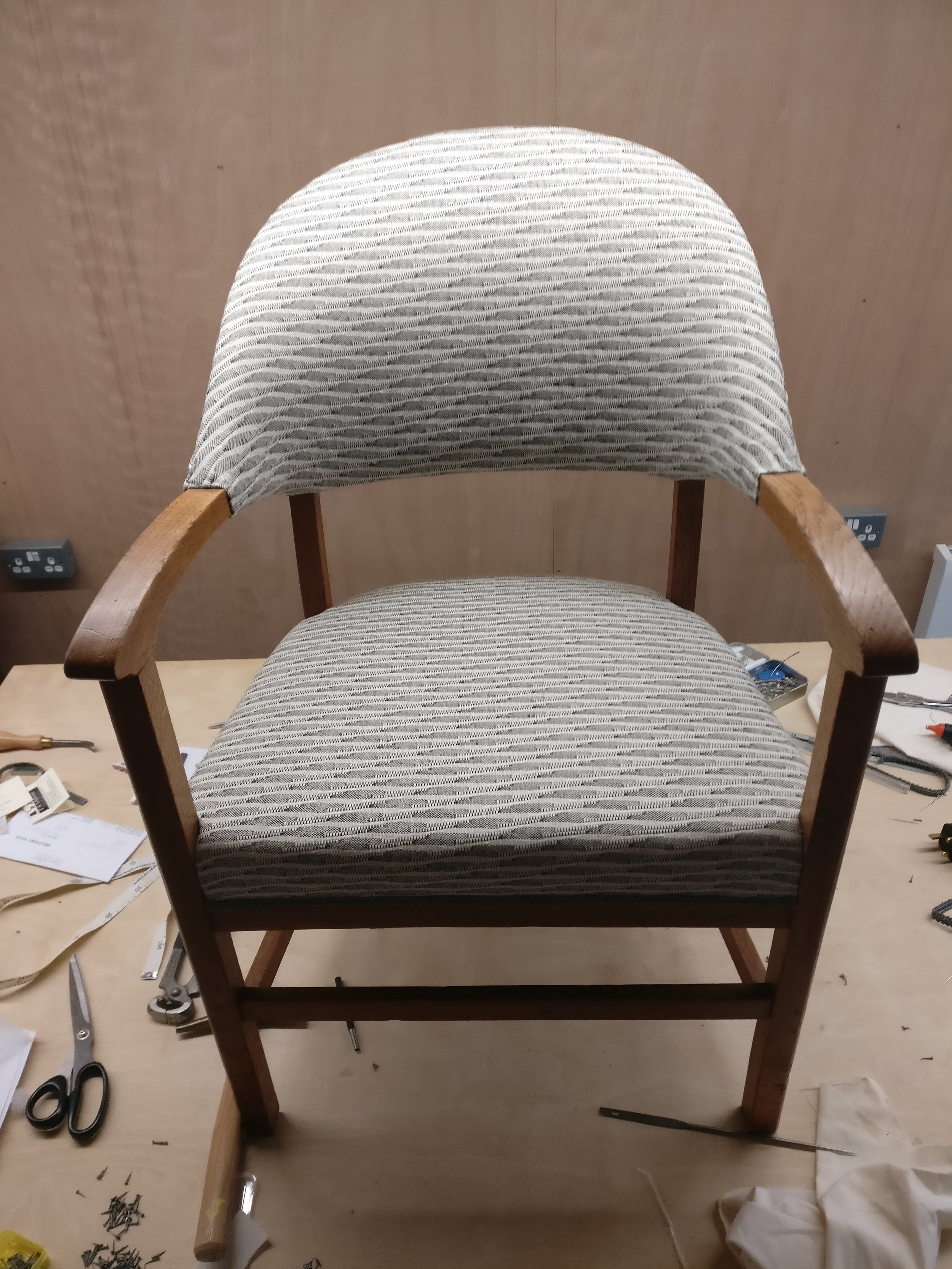 Grist & Twine Upholstery: 1930s curved back chair reupholstered in Swaffer fabric