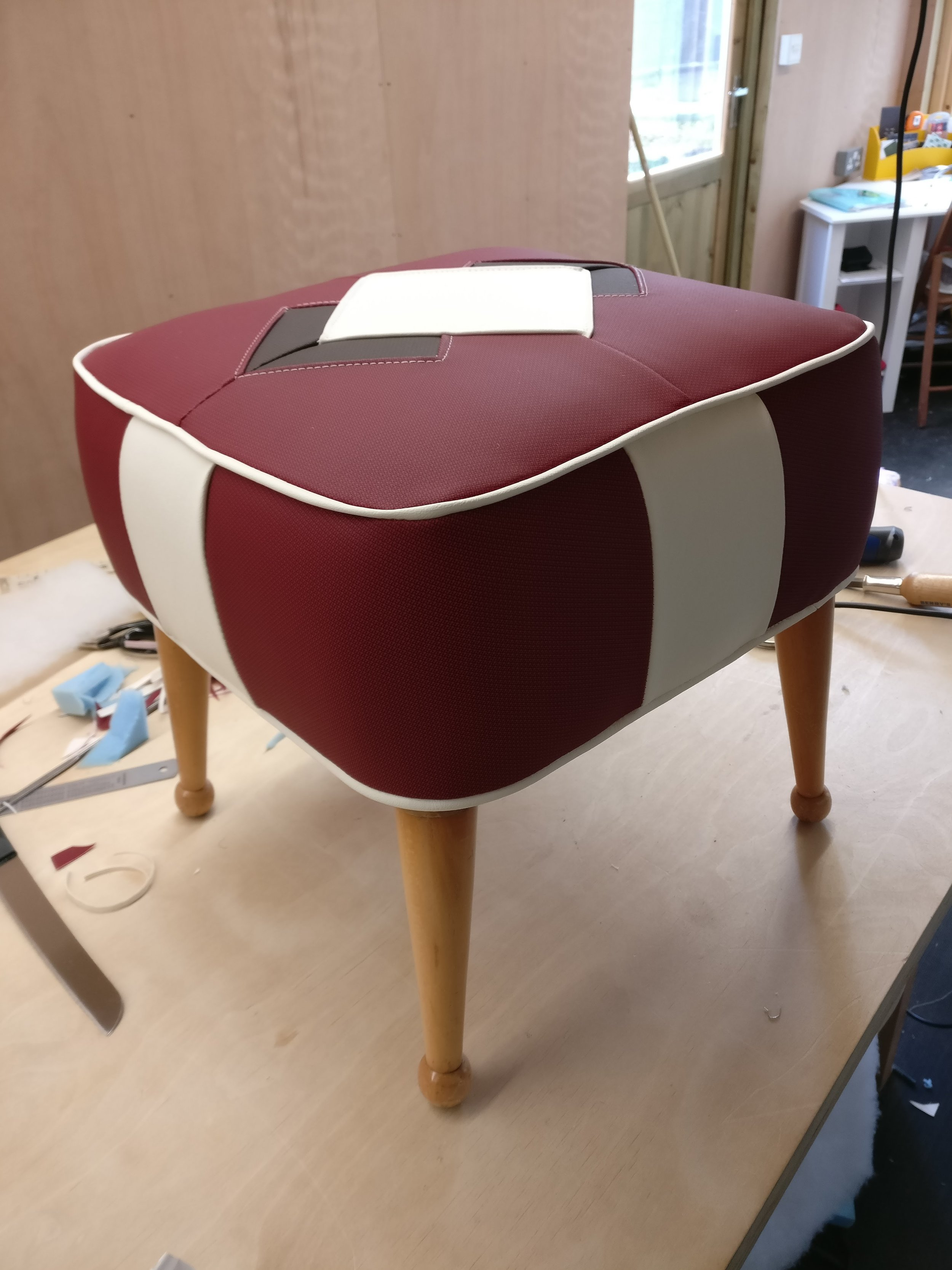 Grist & Twine Upholstery: Atomic style patterned vinyl footstool reupholstered
