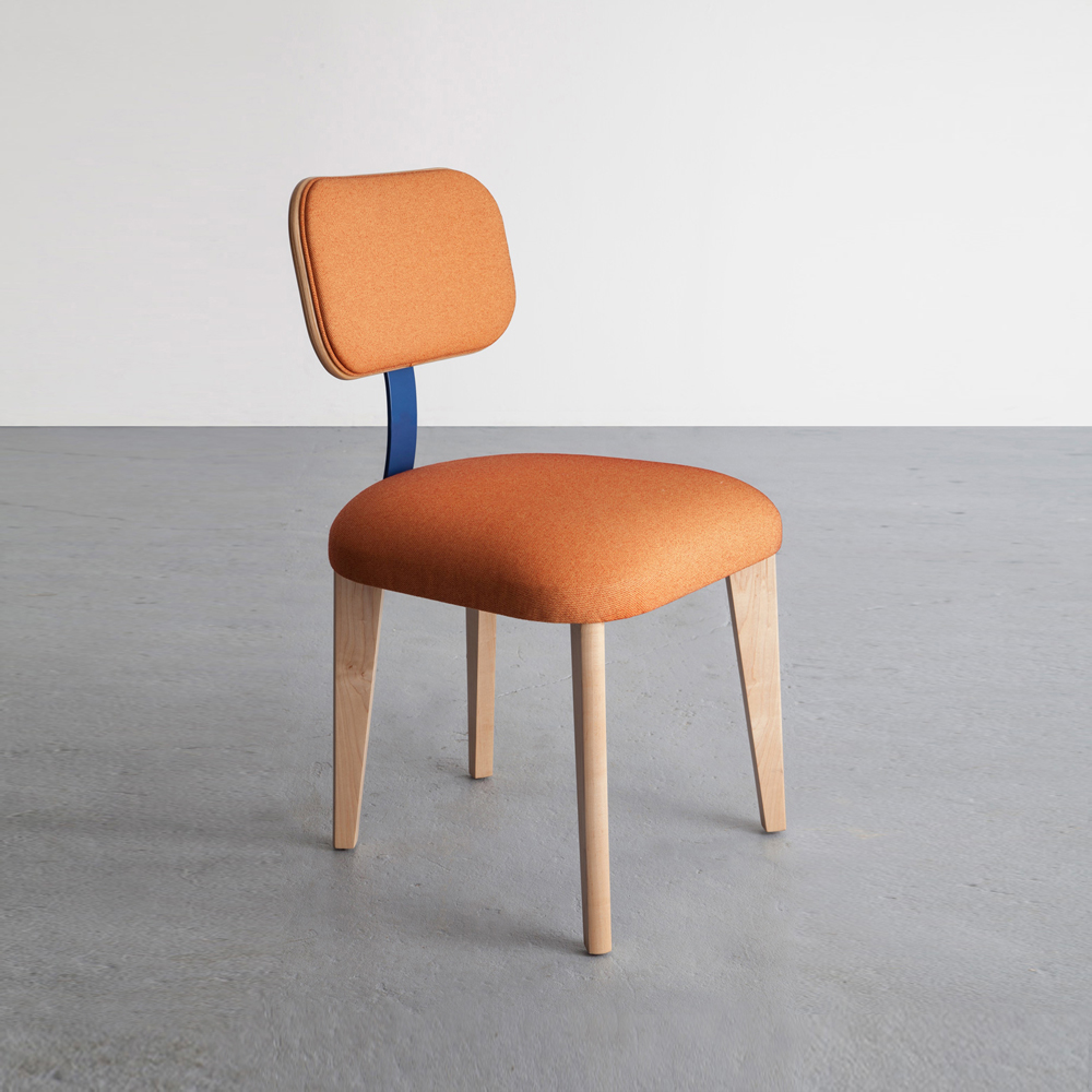 Singer Chair in maple and orange cotton