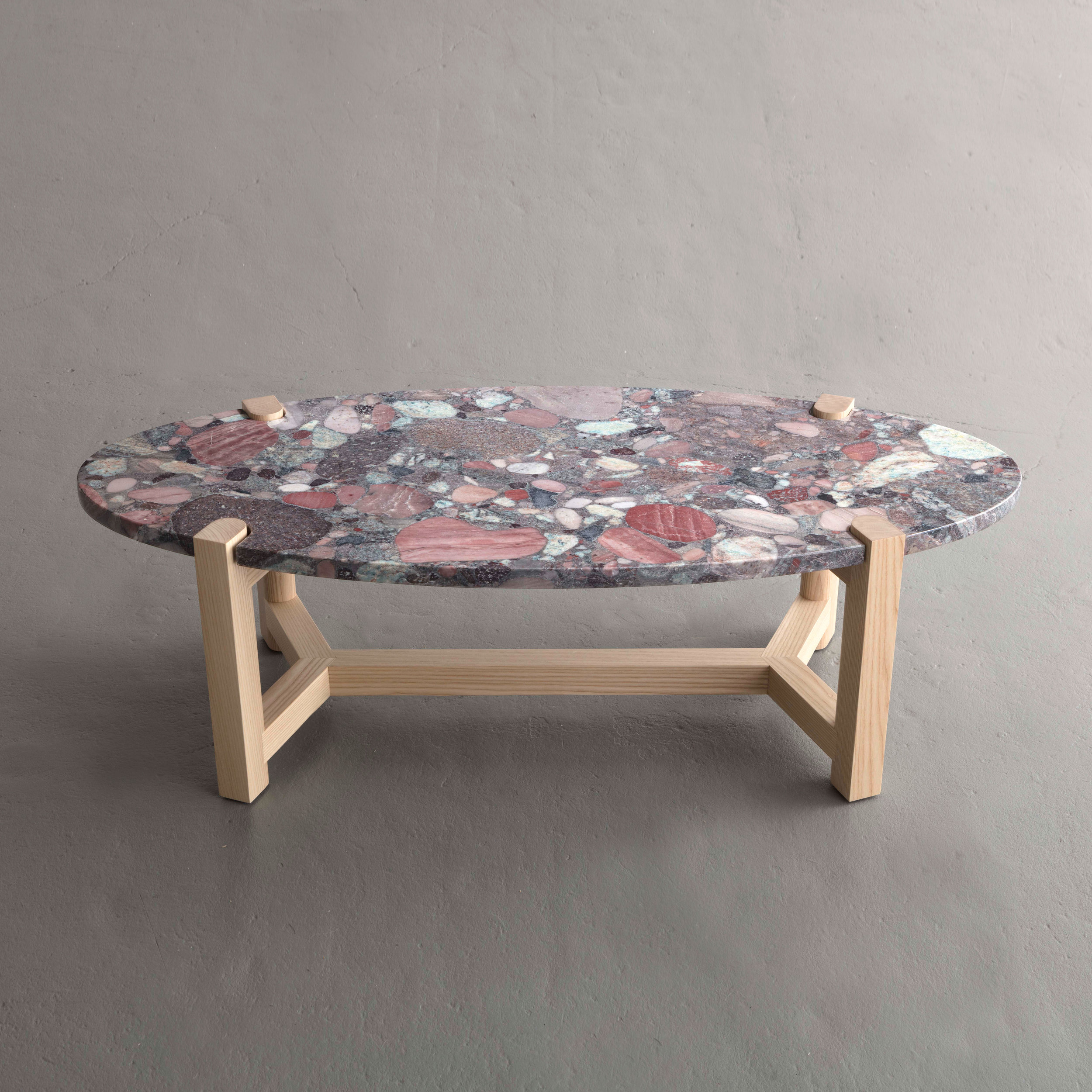 Pierce Coffee Table in ash and Blue Aquarius Granite