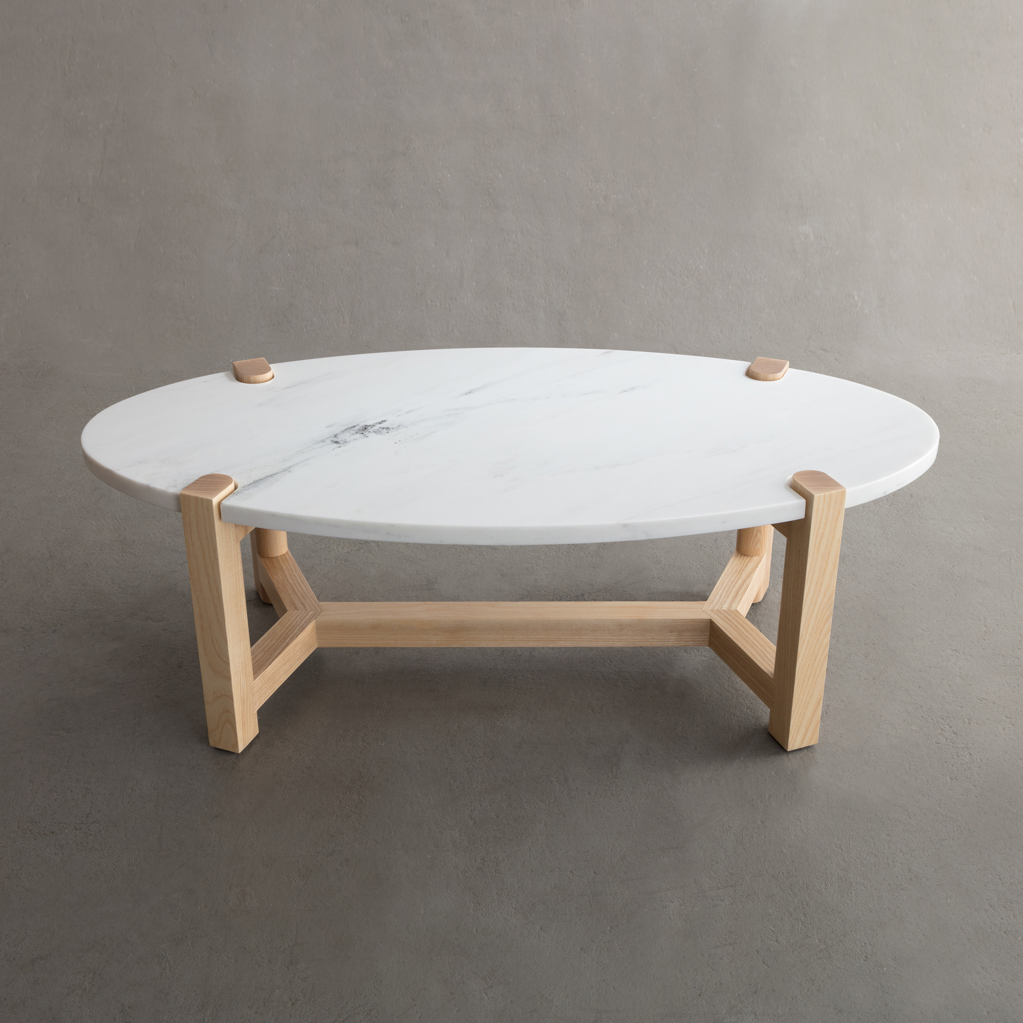 Pierce Coffee Table in ash and Danby Marble