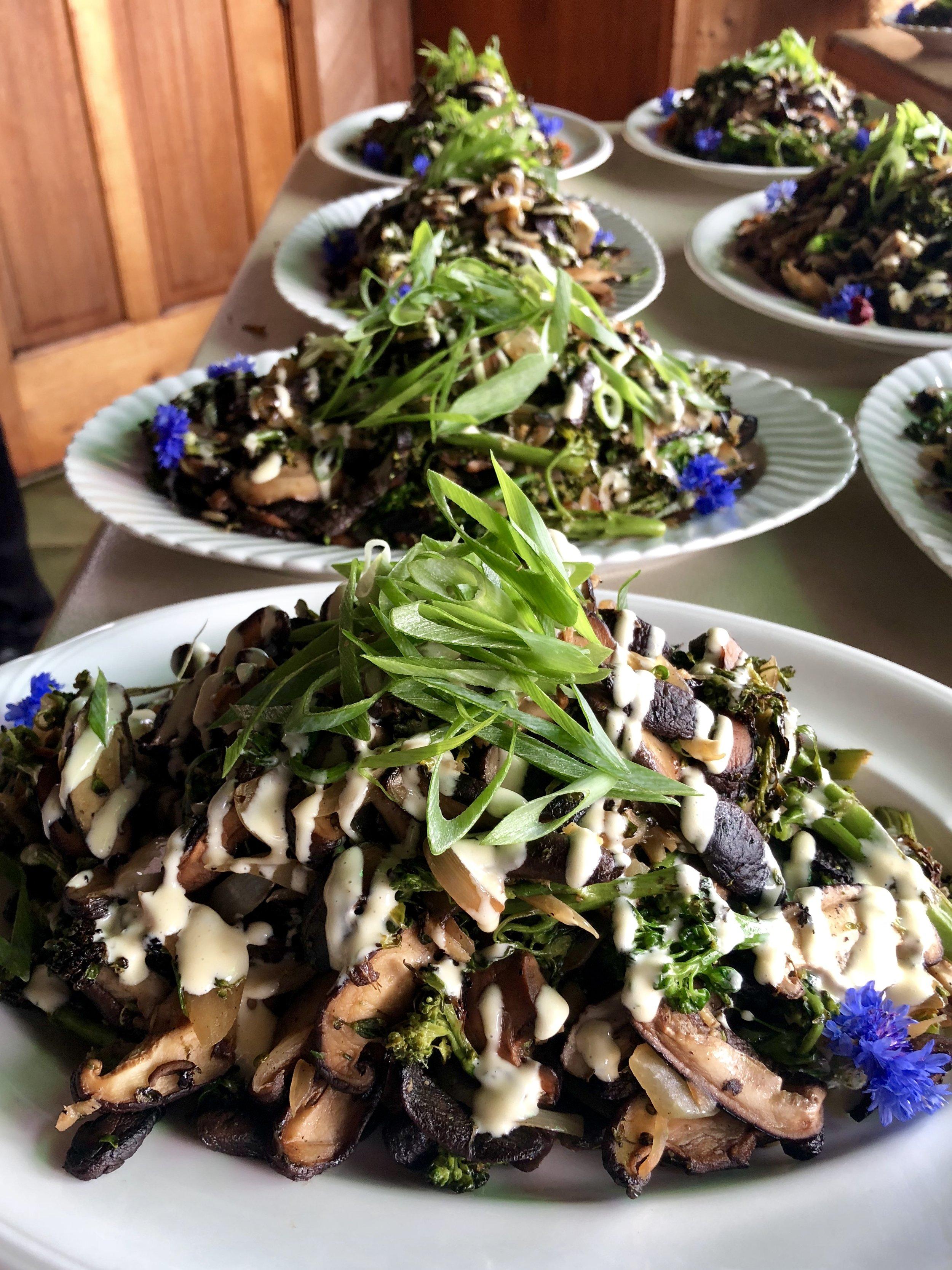 Broccolini & Shitake Mushroom Salad ~ Ginger ~ Miso Aioli
