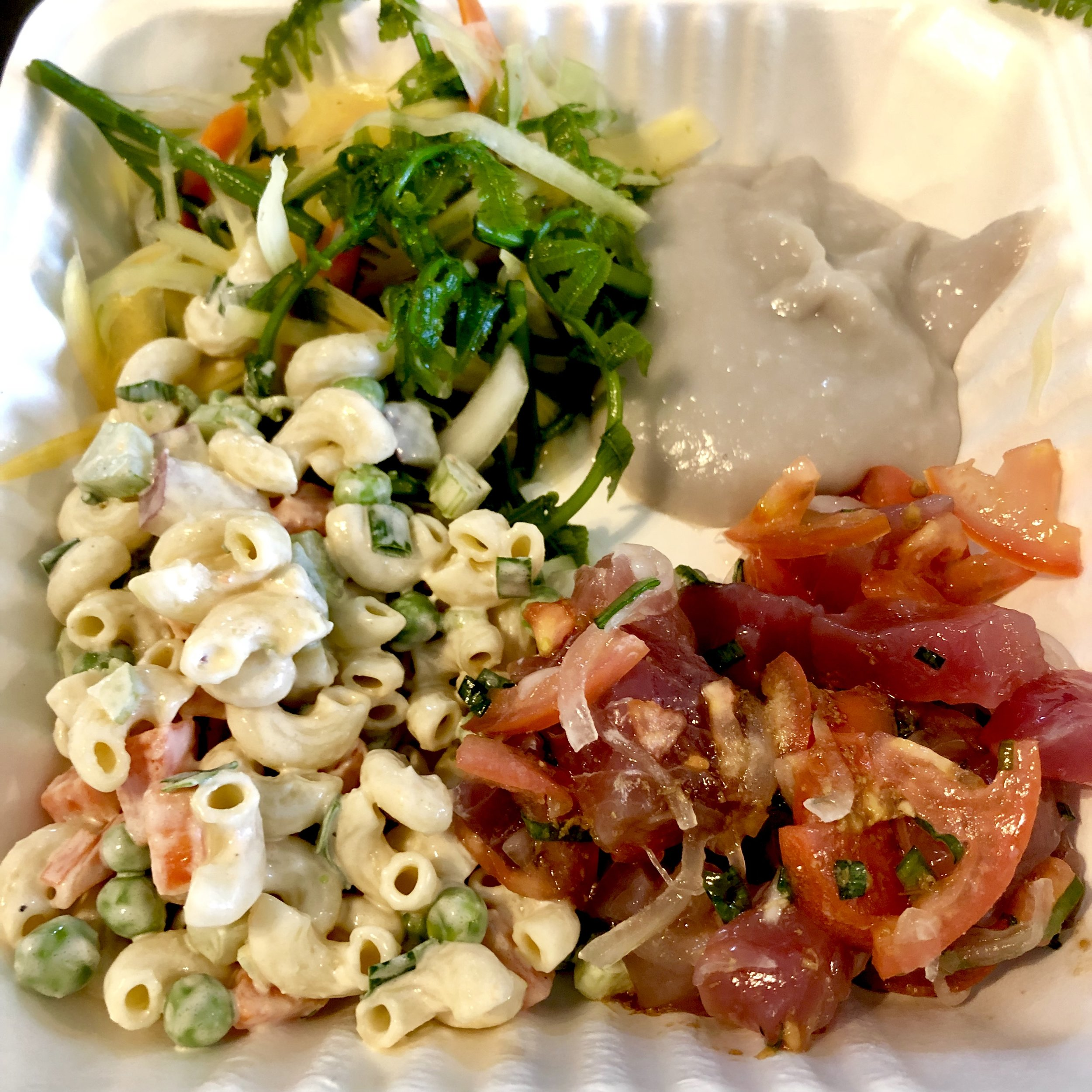 Cold Hawaiian Plate Lunch - Mac Salad, Green Papaya & Pohole Salad, Keanae Poi, Ahi Poke. Paired with (not pictured) Kalua Pork and Cabbage, white rice and brownie with coconut haupia pudding for Ehman Productions and Chef Gordon Ramsay for his new travel show on Nat Geo.