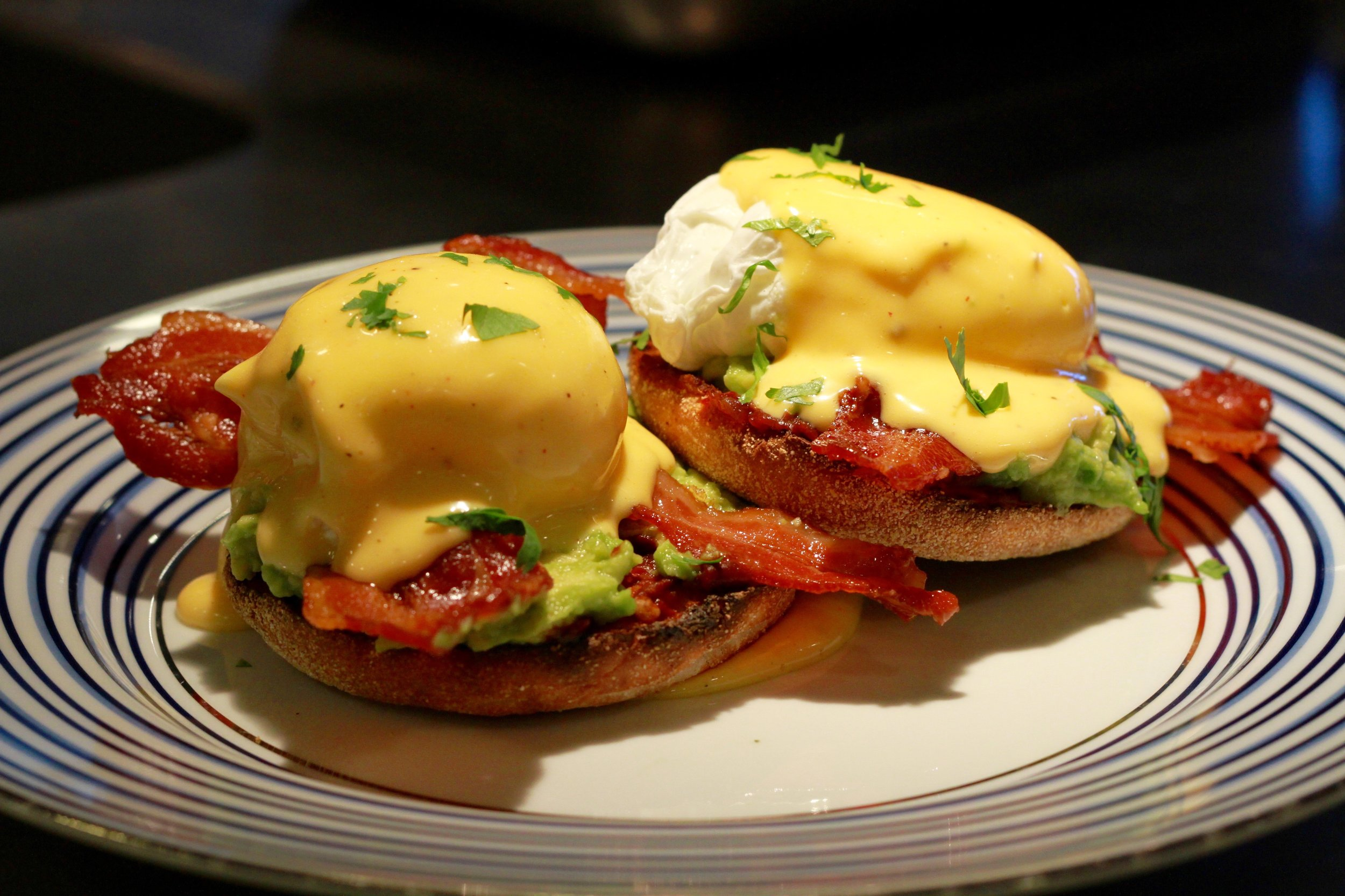 Mexican Eggs Benedict ~ Chipotle ~ Avocado ~ Crispy Bacon ~ Poached Egg ~ Kerrygold Hollandaise