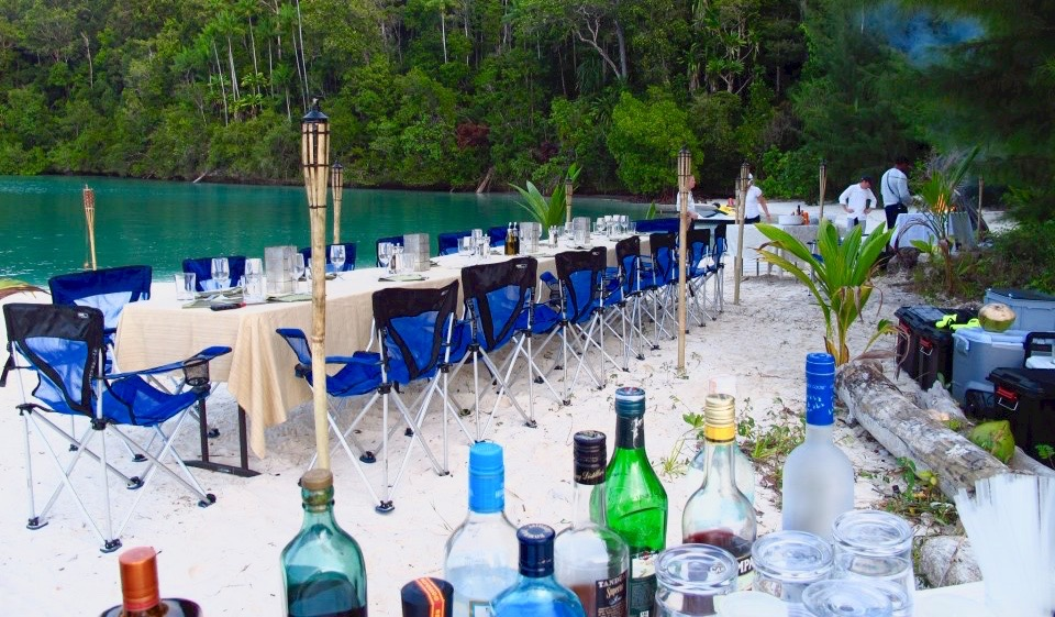 Beach BBQ set up in Raja Ampat, Indonesia.