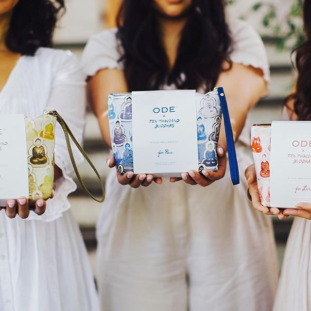So excited for this heart-felt collaboration between @odenaturalbeauty and @10000buddhas to officially launch today in retail and on web. 💖🌱✨ My role: essential oil scent blender and project manager 🌿  Key takeaway: when the spark is there say YES ✨  We started with a much smaller idea. Coming together as neighbors on the Northern California coast to put one kit out into the world that incorporates art and wellness. When the energy is right the idea grows. Today we launch THREE kits with aromatherapeutic blends to inspire love 💞, restore peace 💙, and nurture health 💚. Each kit contains a full ritual from lighting a candle, drawing a bath, focusing the mind with a mist, anointing with oils, thru to rejuvenating your skin with a dose of olive antioxidants. 🌿  Each one is my favorite but the bohemian rose + silver fir body oil in the For Love kit and the deeply chakra balancing and immune boosting grapefruit, frankincense, sandalwood + ylang ylang bath blend in the For Health kit are going to be in heavy rotation in my self care routine. 🌿 📸 @scoutdenatalephotography  #odex10000buddhas #nature #bloomyellow #selfcaresundays #beautywithin #chakrabalancing #greenbeauty #oliveoilbeauty #makersgonnamake #makersmovement #makerspace #valueaddedproducts #organicbeauty