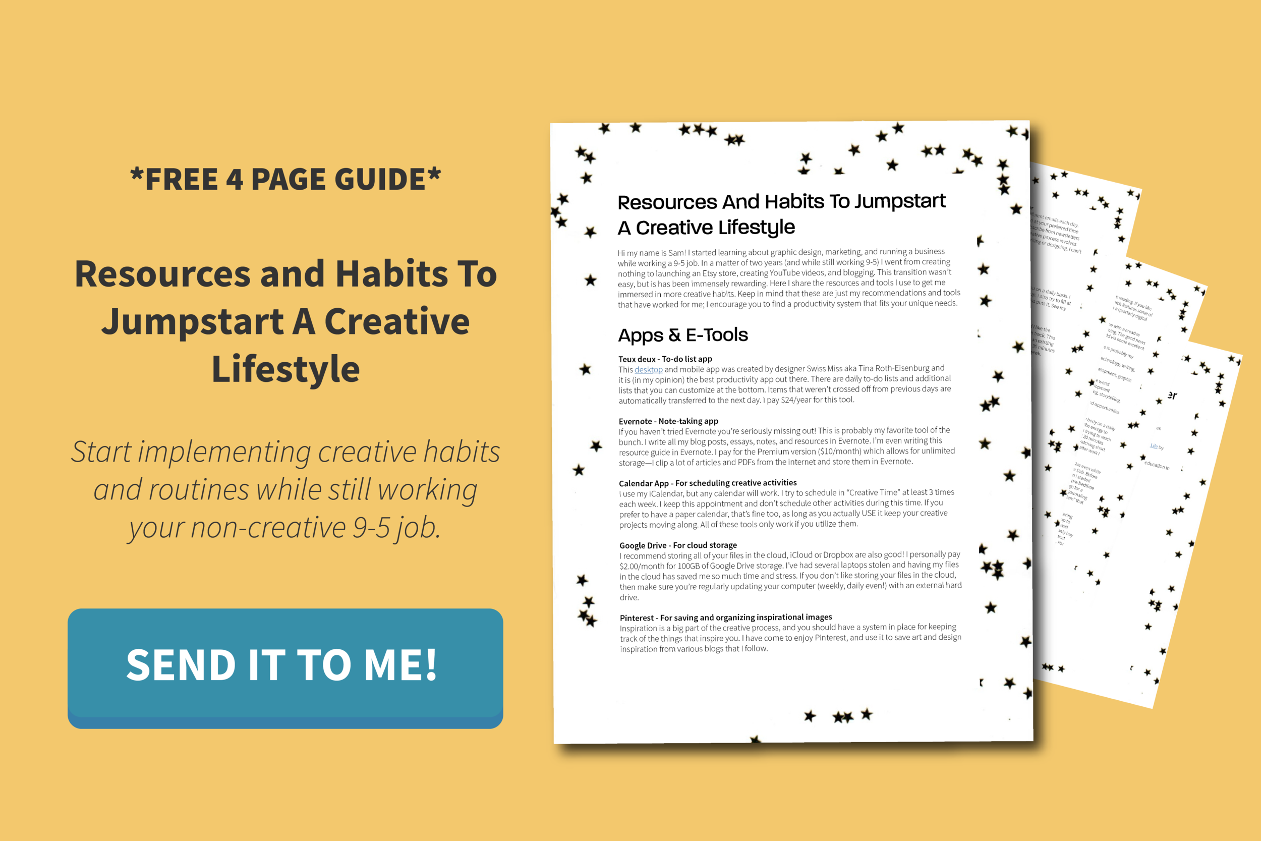 free four page creativity resource guide for working 9-5 jobs