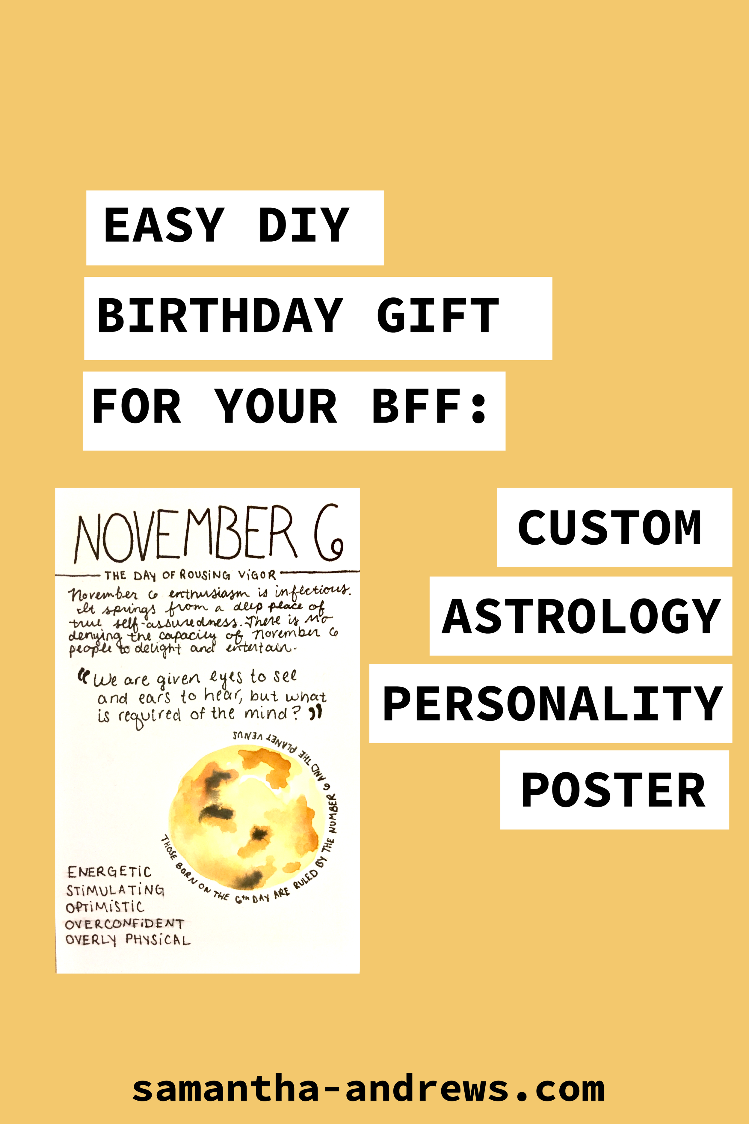 Easy DIY Birthday Gift For Best Friends - Custom Astrology Personality Poster