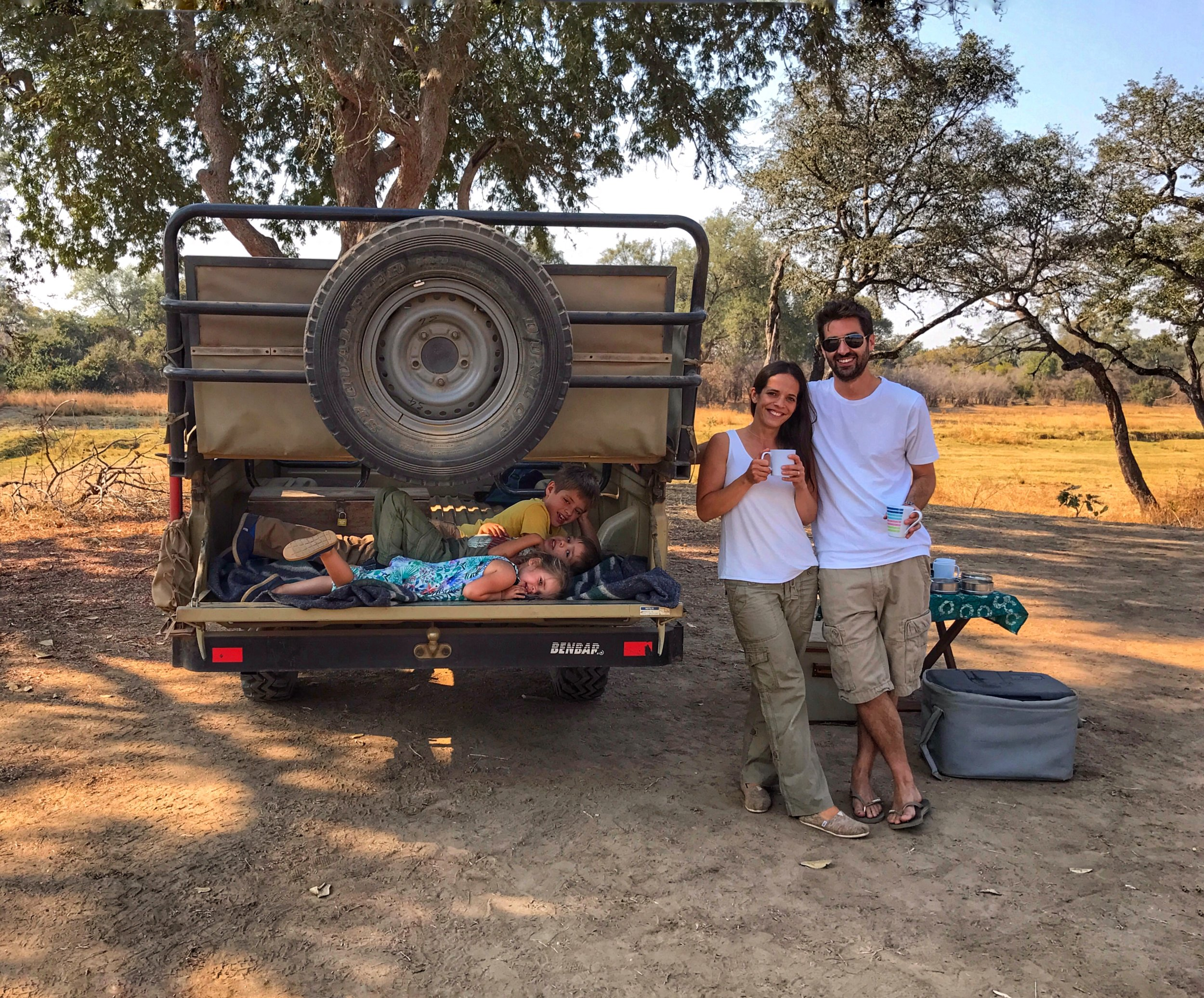 A rest stop during an amazing early morning safari in Zambia