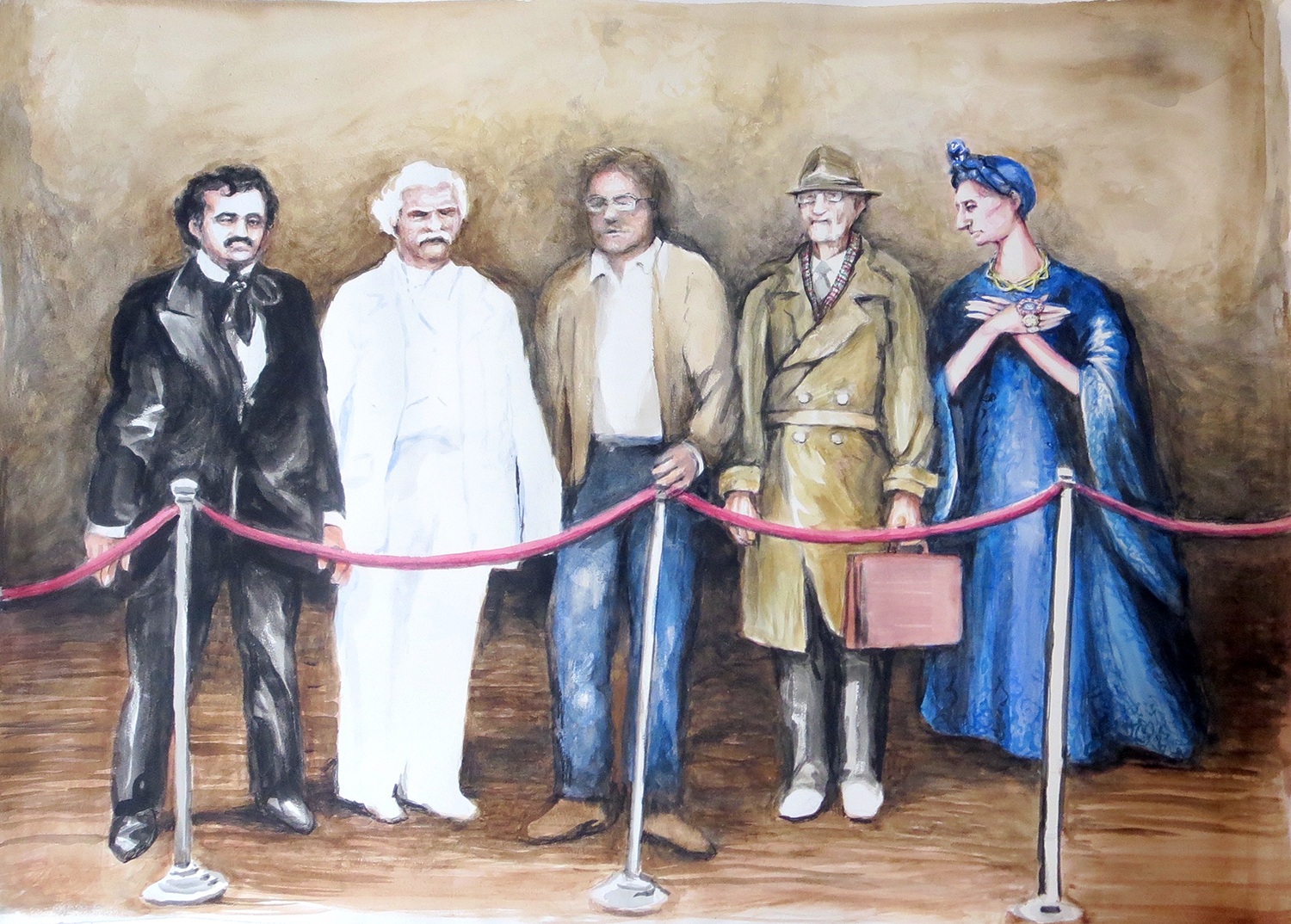 The Authors (Edgar Allen Poe, Mark Twain, Stephen King, William Burroughs, Dame Edith Sitwell) (from the series Scenes from the Wax Museum)