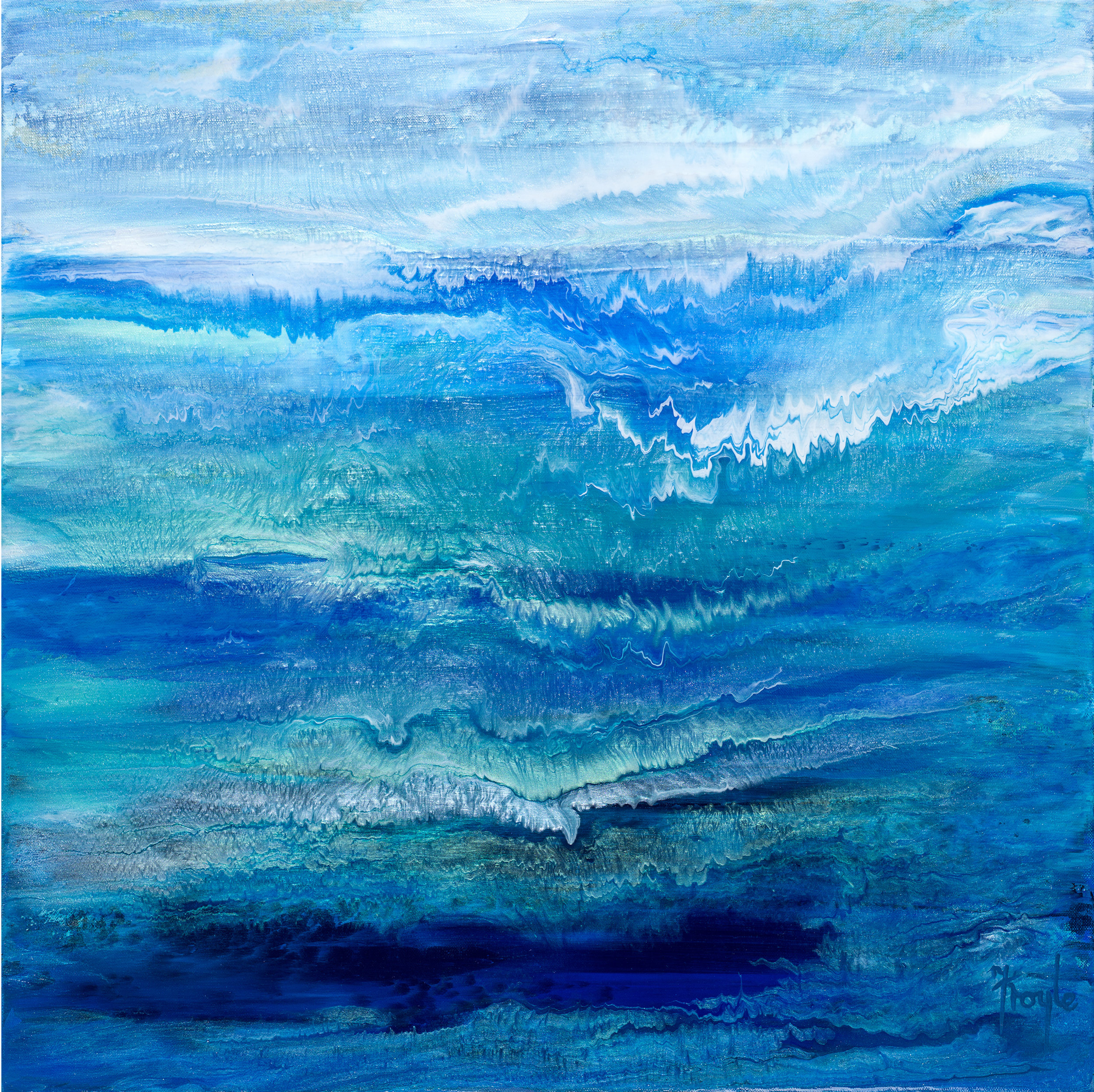 Where the Sea Meets the Sky  acrylic on linen, 61 x 61cm