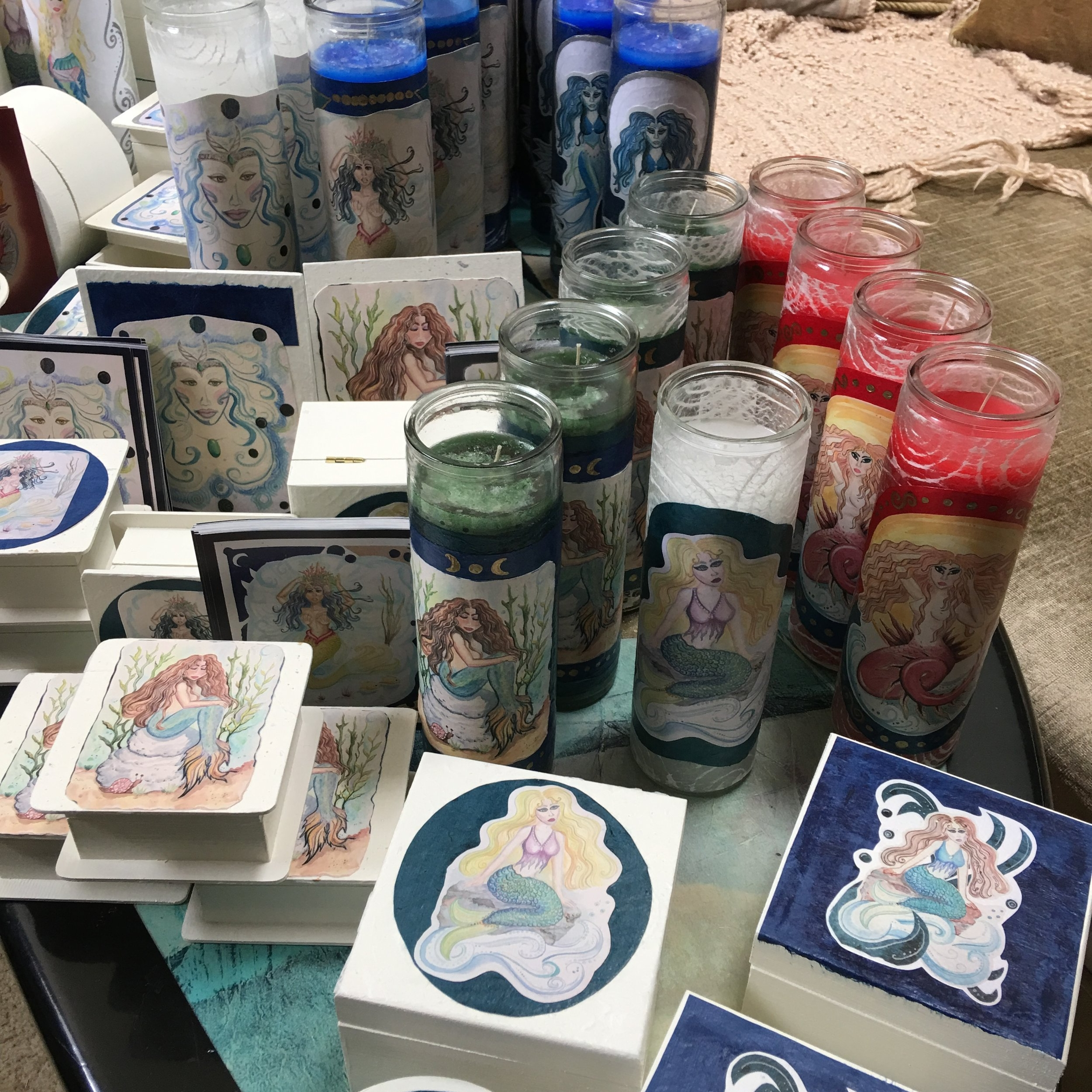 Sharon Knight - Drawing on imagery from fairytale and folklore, Sharon Knight creates whimsical fantasy mermaids using water colors, colored pencils and pens, decoupage, and decorative papers.HEXENFEST SPONSOR