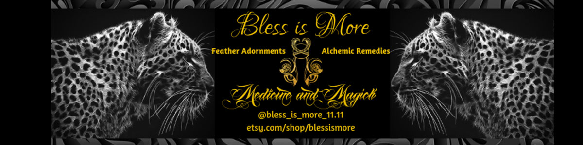 Bless is More   makes stunning feather headdresses and herbal tinctures! She was one of our dancers last year and we are honored to have her as a Hexefest sponsor in 2019!