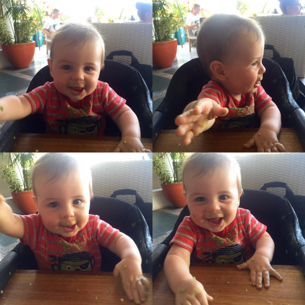 Theo's first food experience - avocado in Hawaii