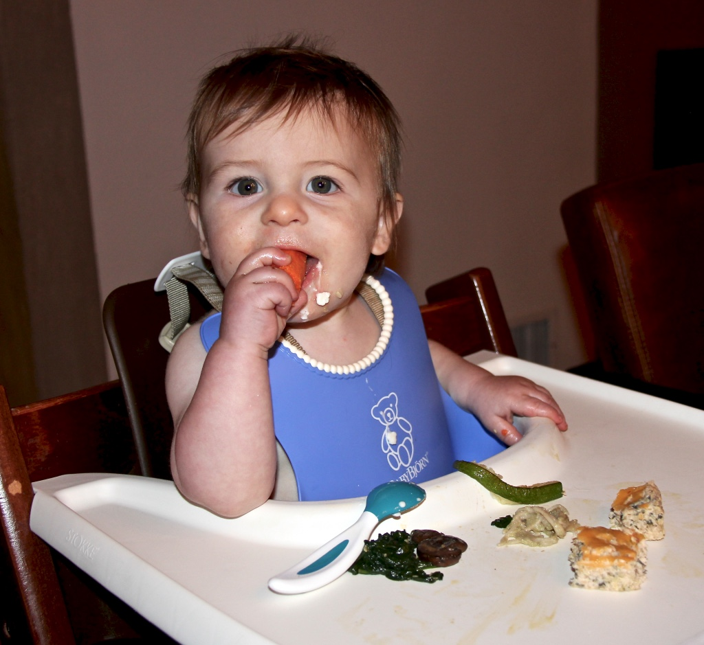 Savoring his meal of roasted carrots and zucchini, sautéed spinach and mushrooms and cheesy quinoa