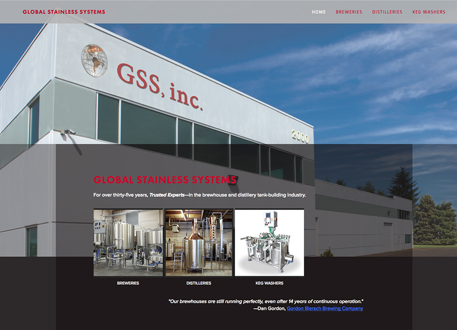 Parallax scroll for commercial appeal: Global Stainless Systems
