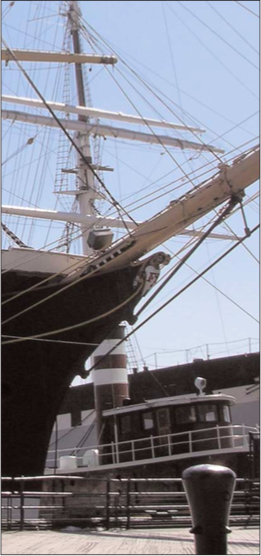 Robert Simko  The Peking (four-masted barque, 1911) and the Helen McAllister (tug, 1900) at Pier 16.