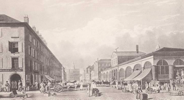 In 1834, artist William James Bennett made this view of Schermerhorn Row and the Fulton Market. Of all the buildings in this picture, only Schermerhorn Row (left side) remains today.