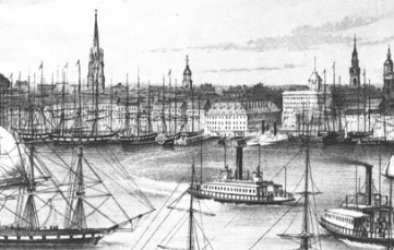 """Brooklyn-bound ferries can be seen in this detail of an 1849 print, """"View of New York from Brooklyn Heights"""" by Currier."""