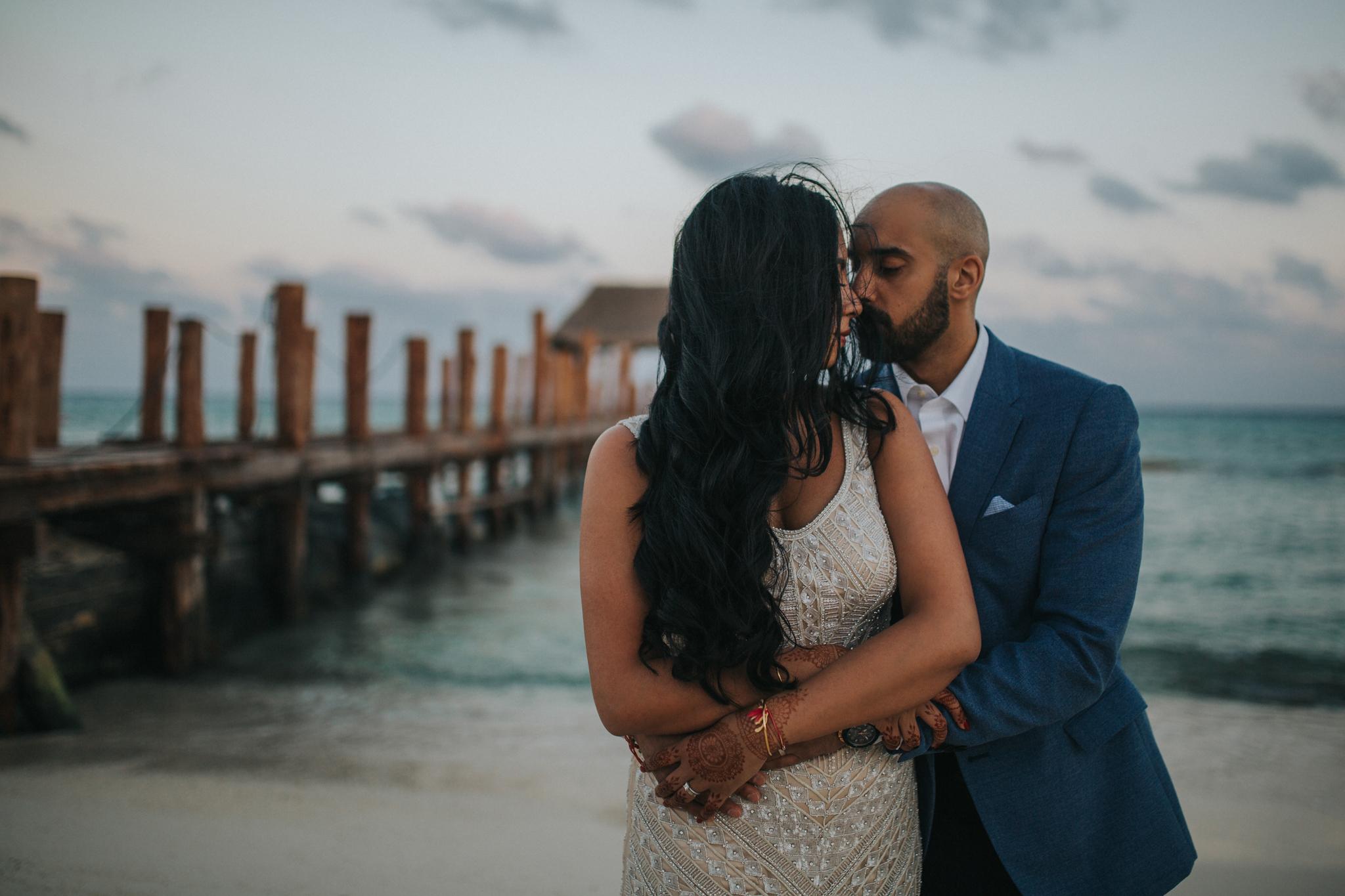 Bride and Groom photo on the beach at Azul Resort Playa del Carmen