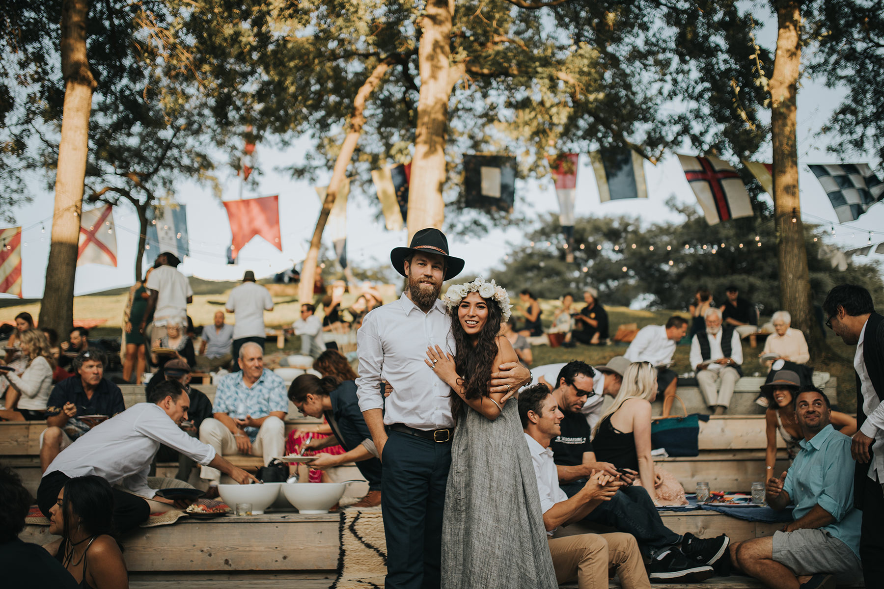 A bohemian wedding on the lawn at Performance Works
