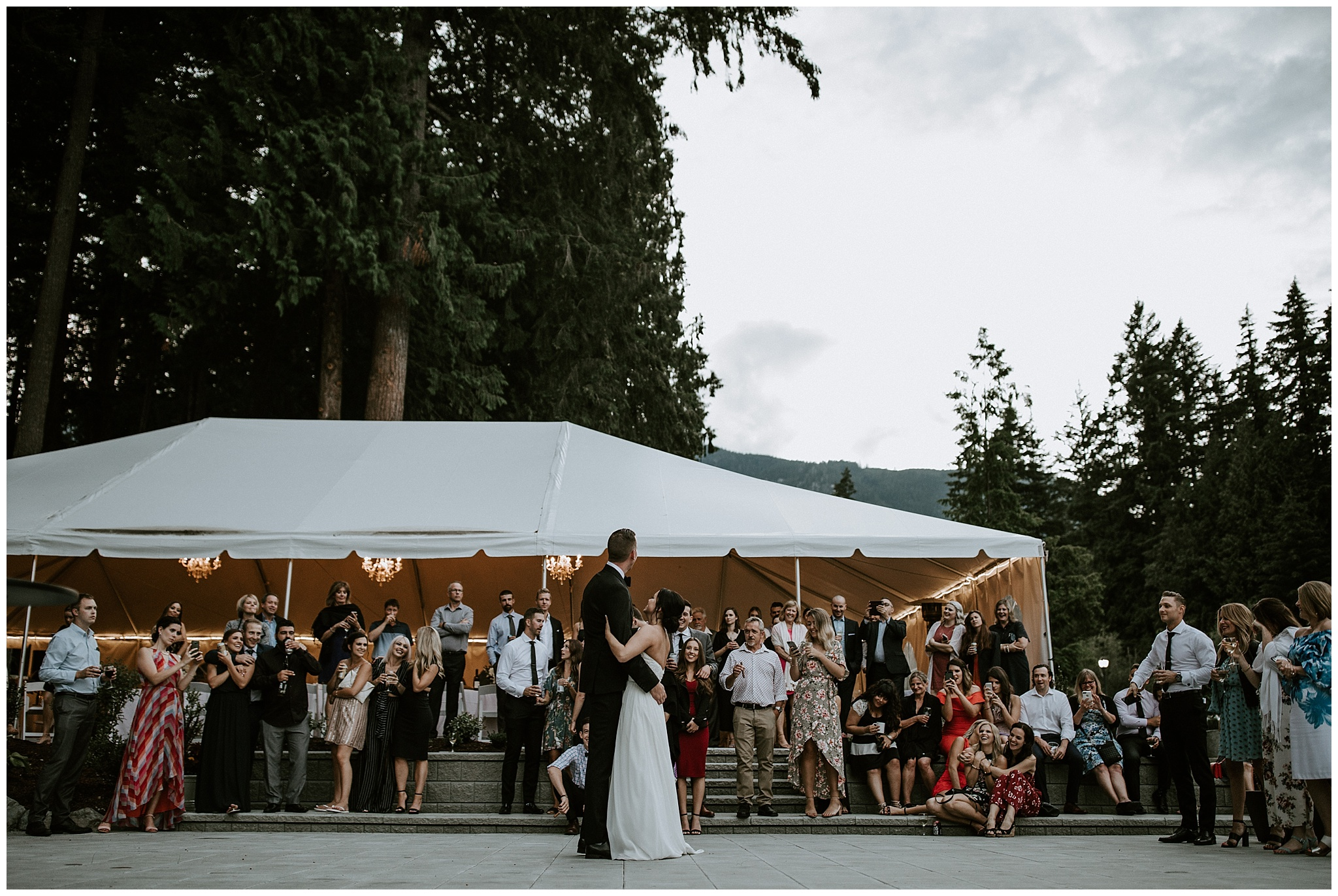 Bride and Groom's first dance in front of the tent at Rowena's Inn on the River