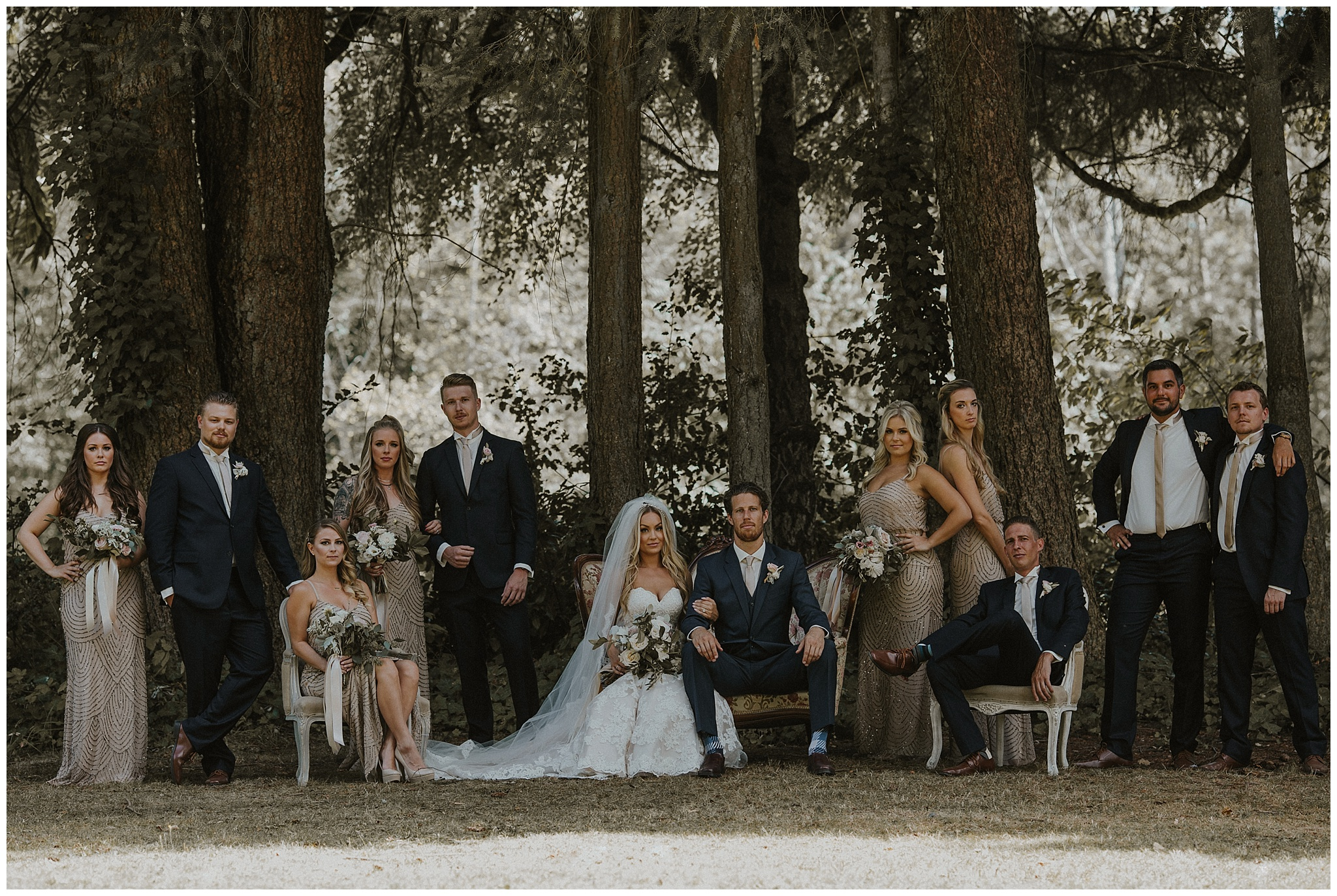 Vanity Fair bridal party photo on the lawn at the Hart House wedding venue