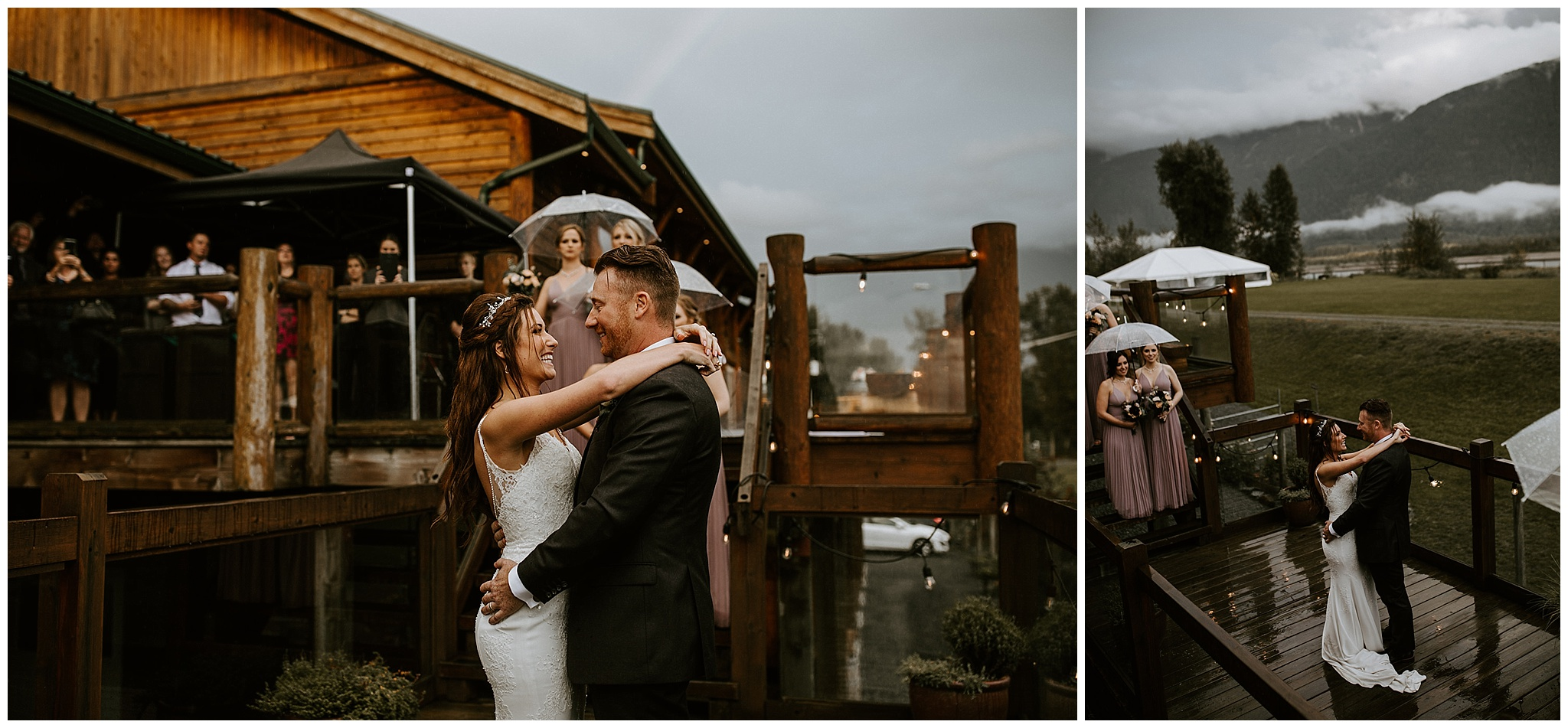 A bride and groom having their first dance on the deck at the Fraser River Lodge