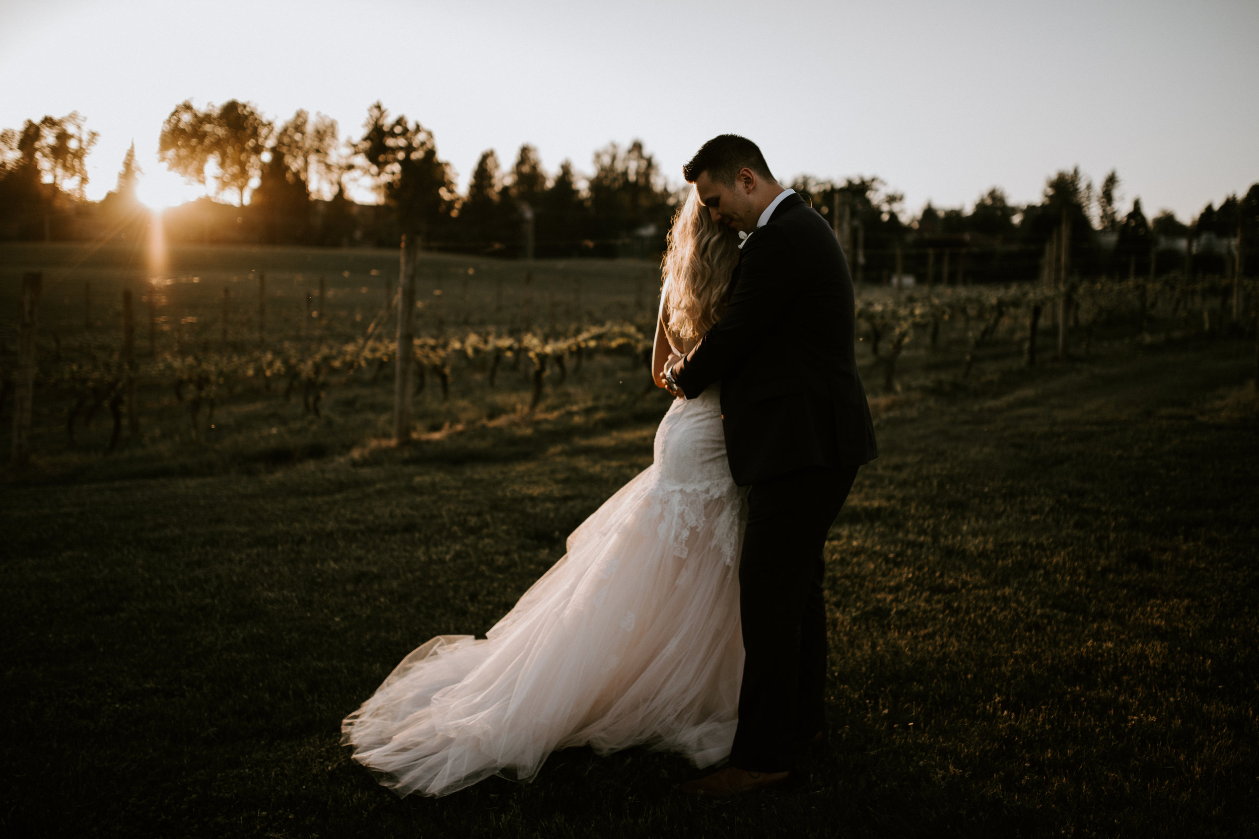 Bride and Groom photo during sunset at their wedding at Mount Lehman Winery in Abbotsford