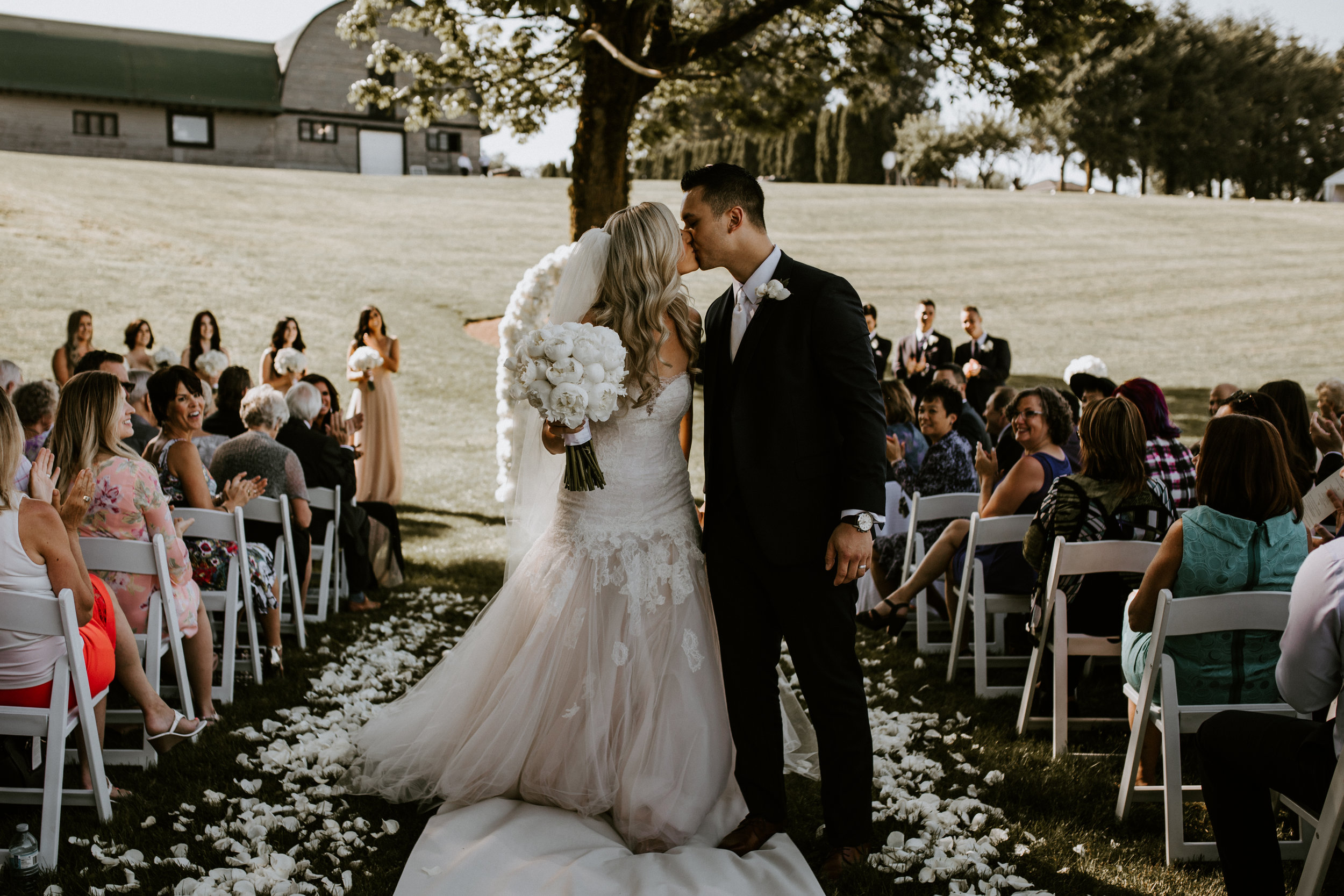 A wedding ceremony on the lawn at Mount Lehman Winery