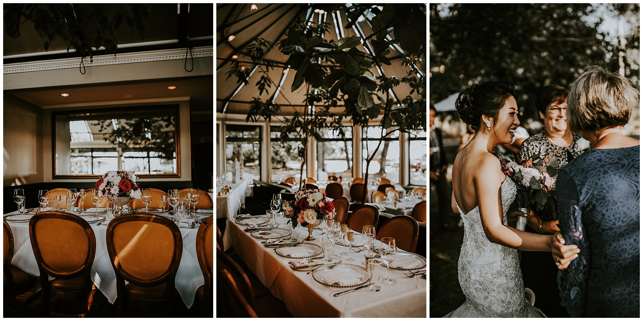 An outdoor wedding reception at the Tea House in Stanley Park