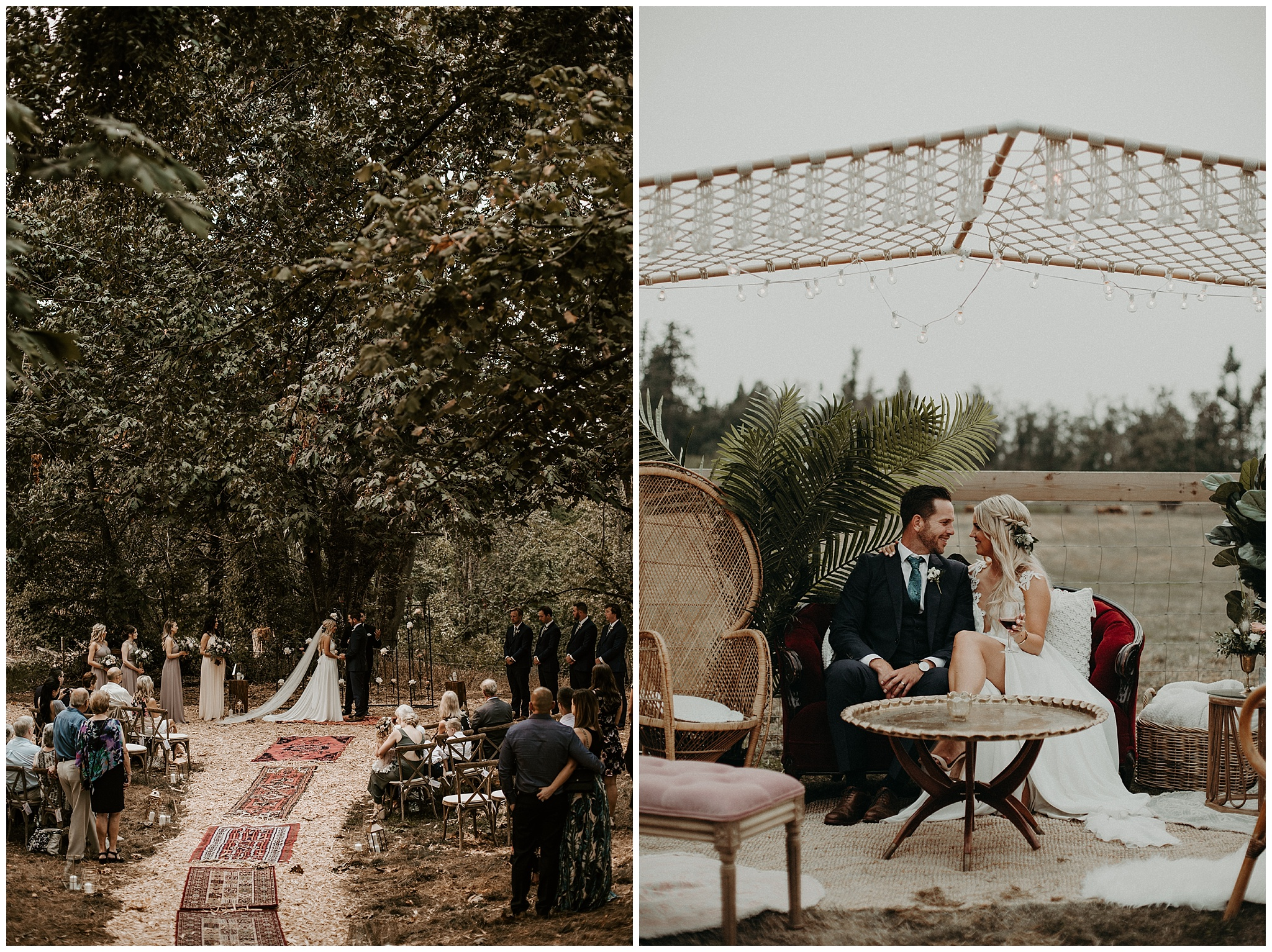 Set up of a bohemian backyard wedding in Langley, BC