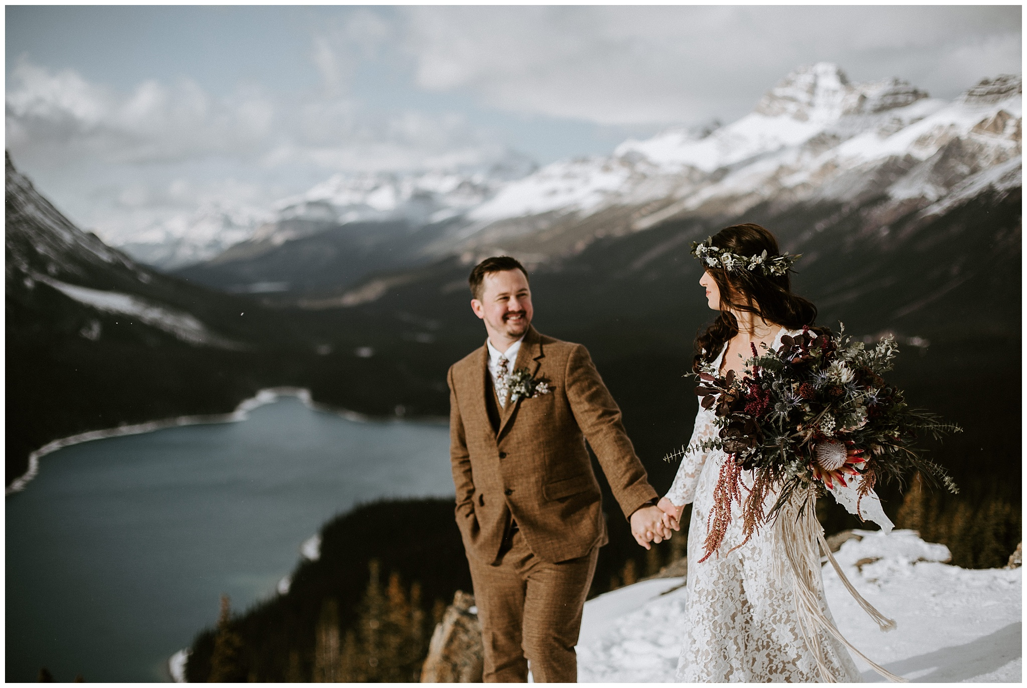 An intimate elopement at Peyto Lake in Jasper