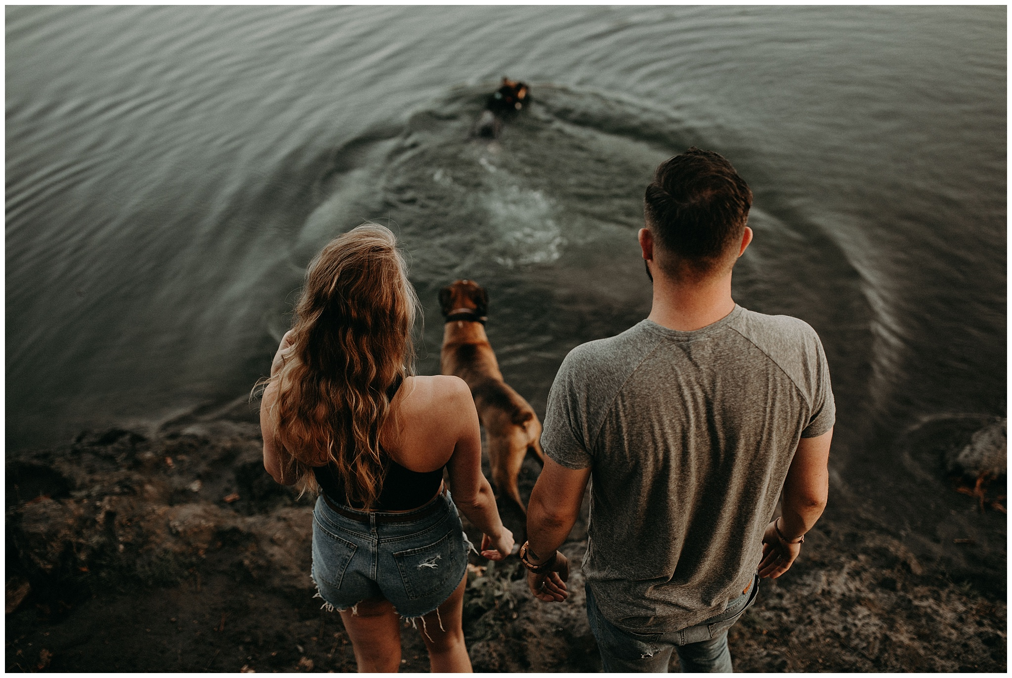 A couple with their dogs at Chilliwack lake