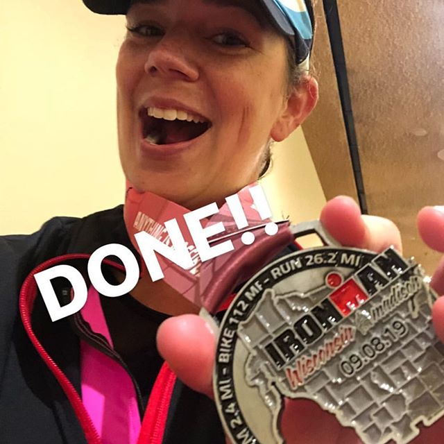 A HUGE congratulations to trainer Ashleigh for competing in the @ironmantri Wisconsin this past weekend!!! Such a big undertaking and accomplishment....we're super proud of you, Ashleigh 💪🏻💪🏻💪🏻