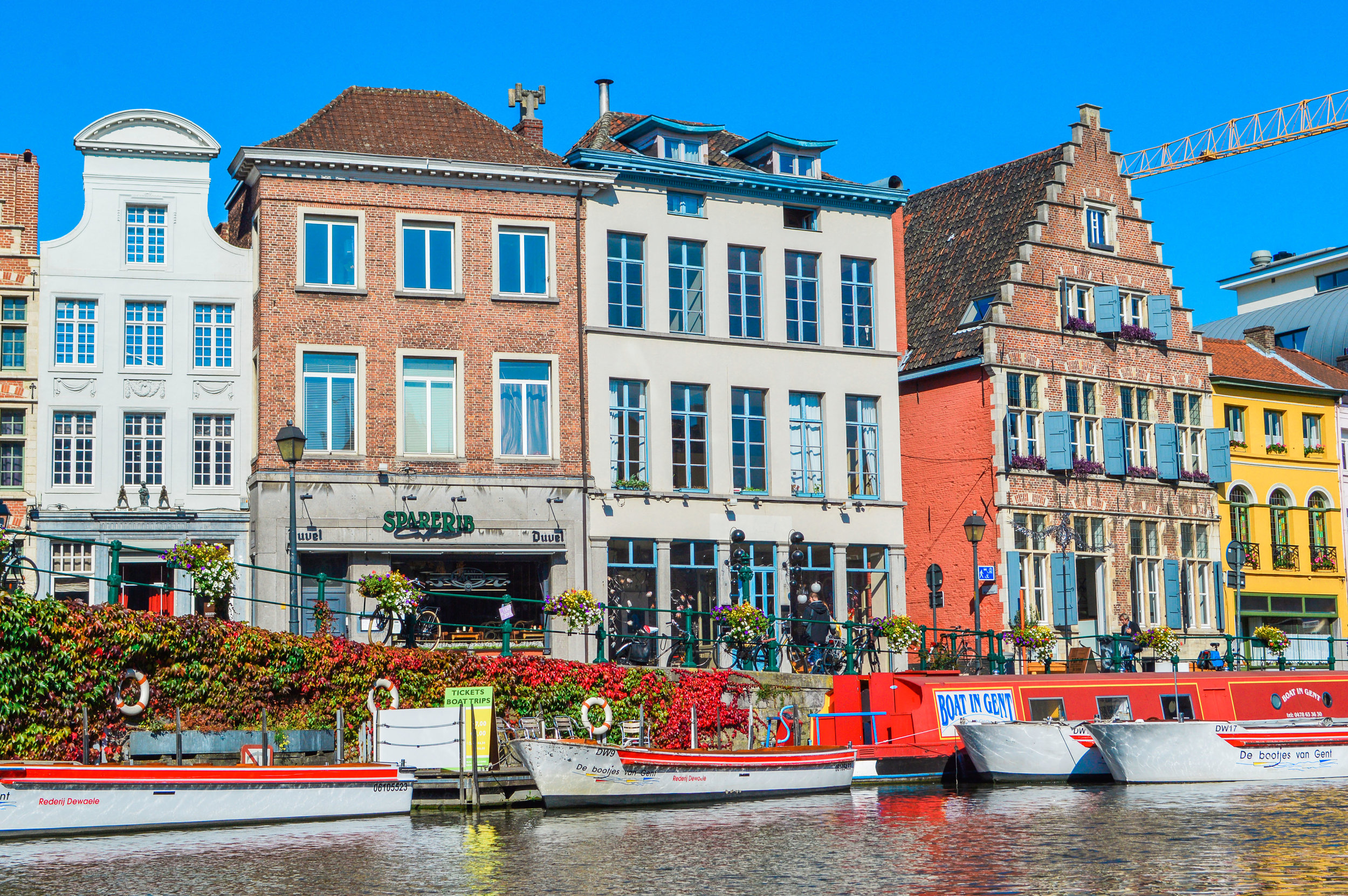 Shops and Restaurants along the Leie River, Ghent, Belgium