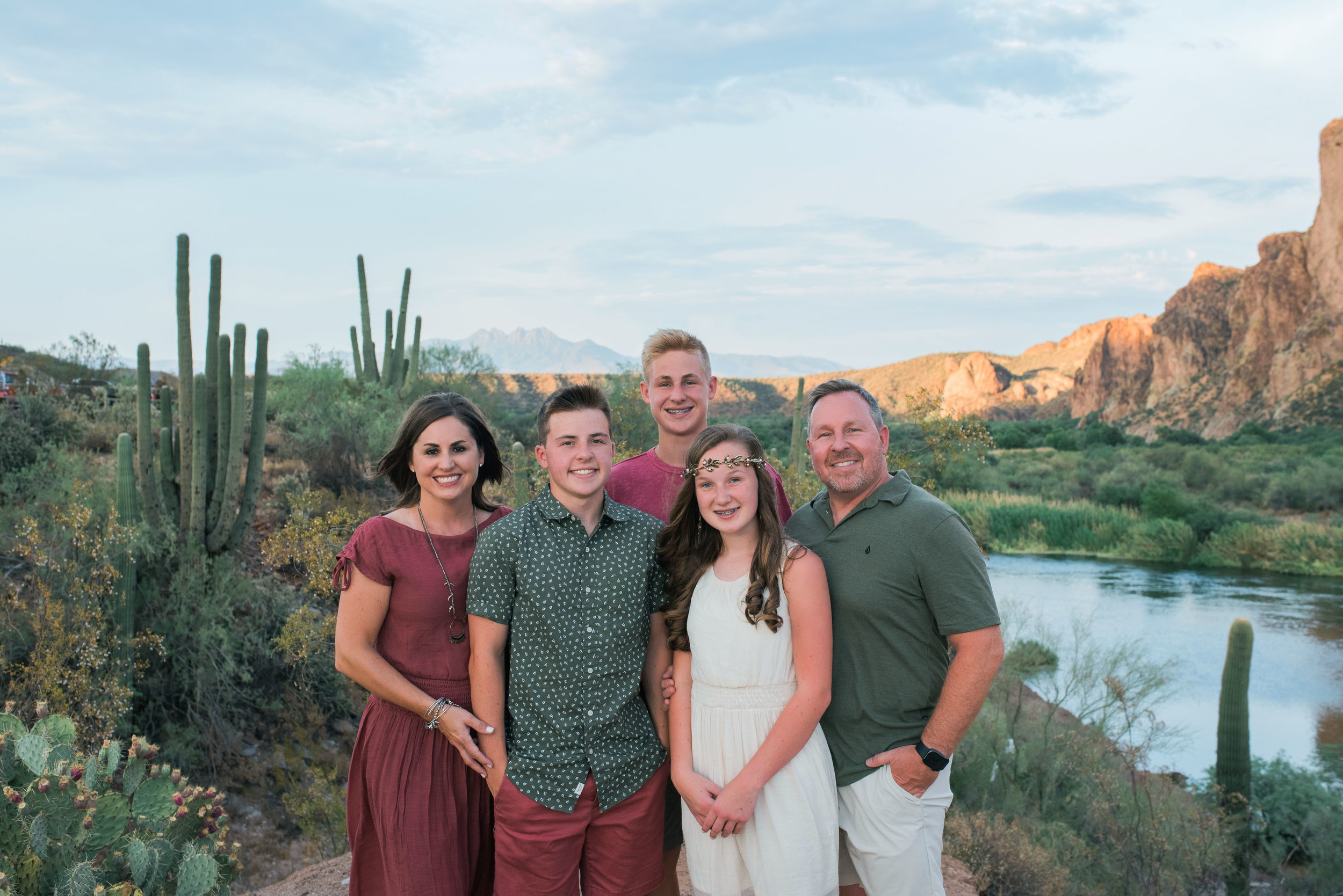 Four Peaks, Cacti, and the Salt River surround this beautiful family.