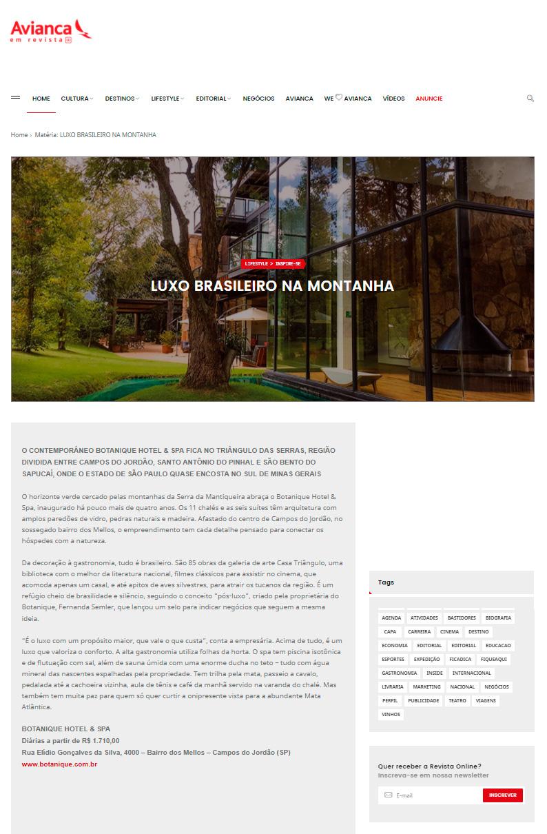 Revista Aviance - Luxo brasileiro na montanha. Pós-Luxo com Fernanda Ralston Semler.