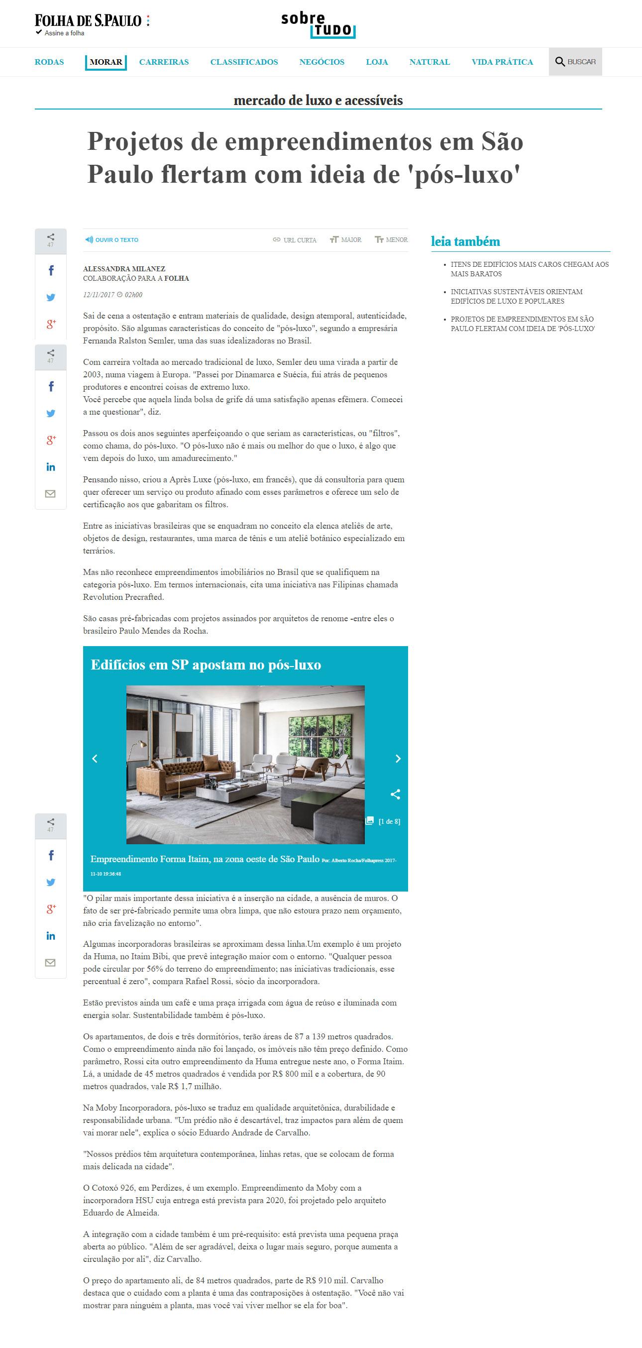 Folha de São Paulo - Projetos flertam com ideia de Pós-Luxo. Fernanda Raslton Semler