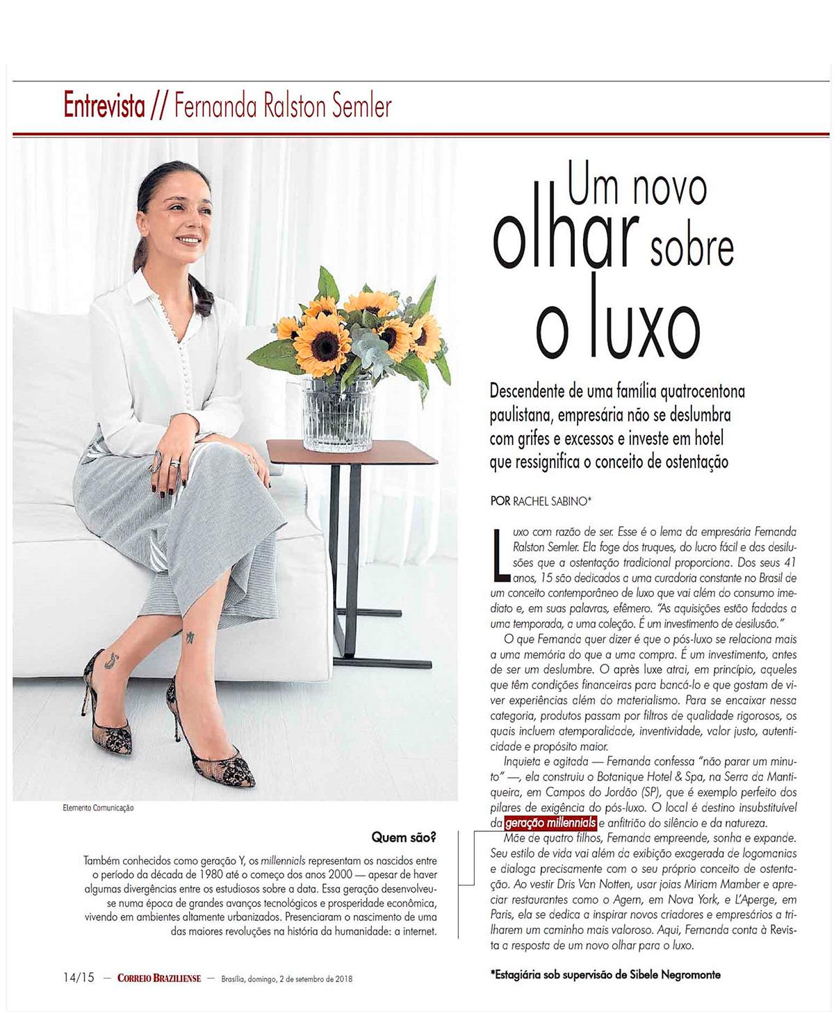Correio Braziliense - Fernanda Ralston Semler - Um novo olhar sobre o luxo, o Pós-Luxo.