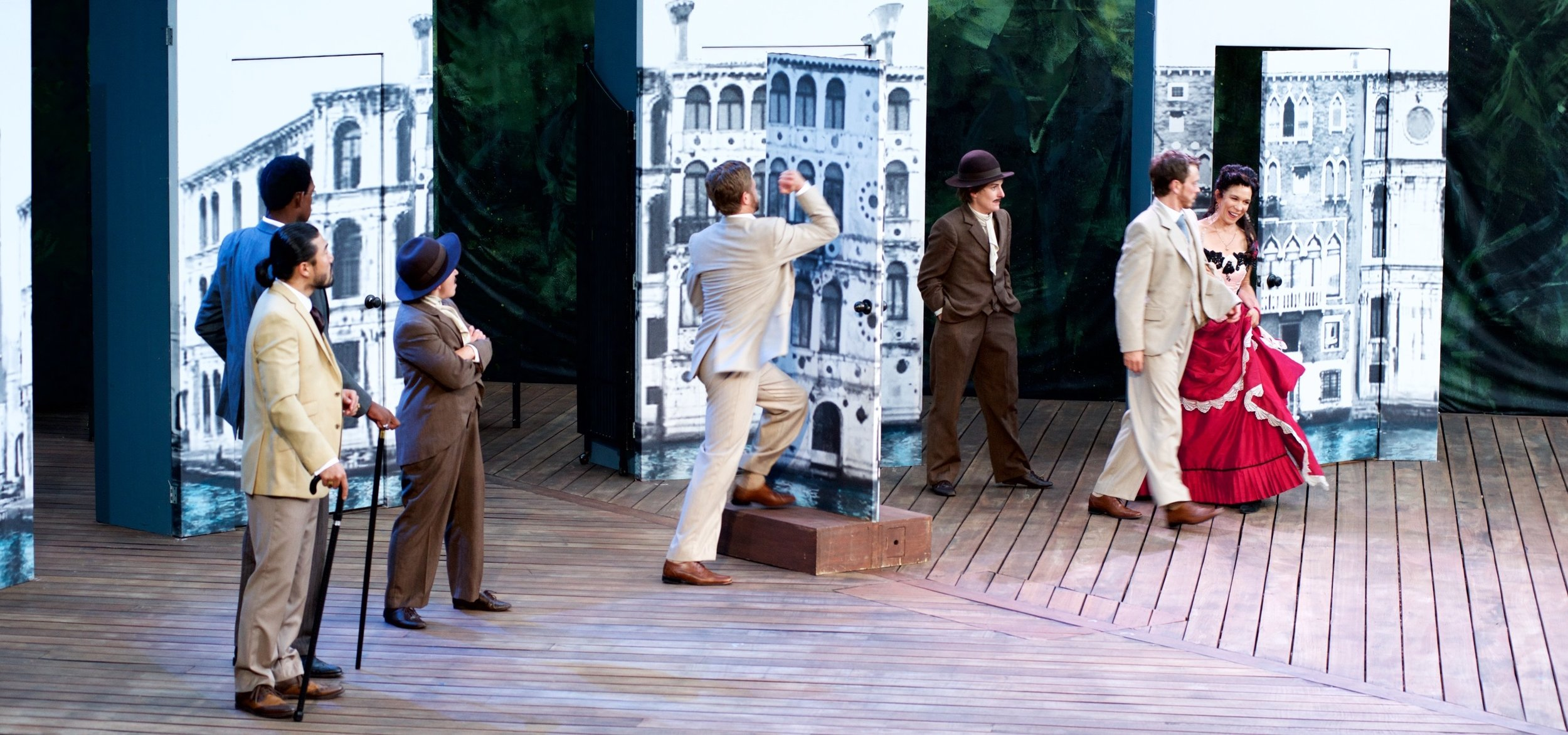The lockout scene with the cast of  The Comedy of Errors  (Canadian Stage – Shakespeare in High Park). Photo by Lyon Smith