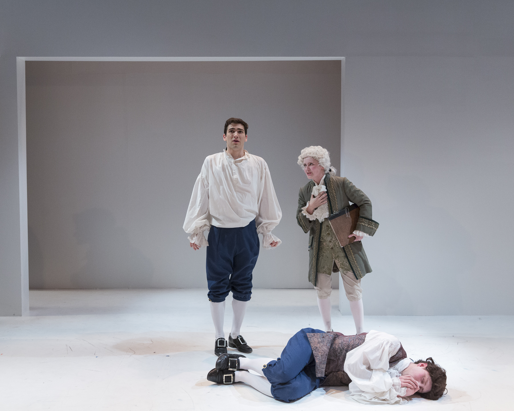 Ryan Taylor, Rachel Moore and Andrew Cameron in  Candide  by Mark Ravenhill (George Brown Theatre). Photo by  Aleksandar Antonijevic