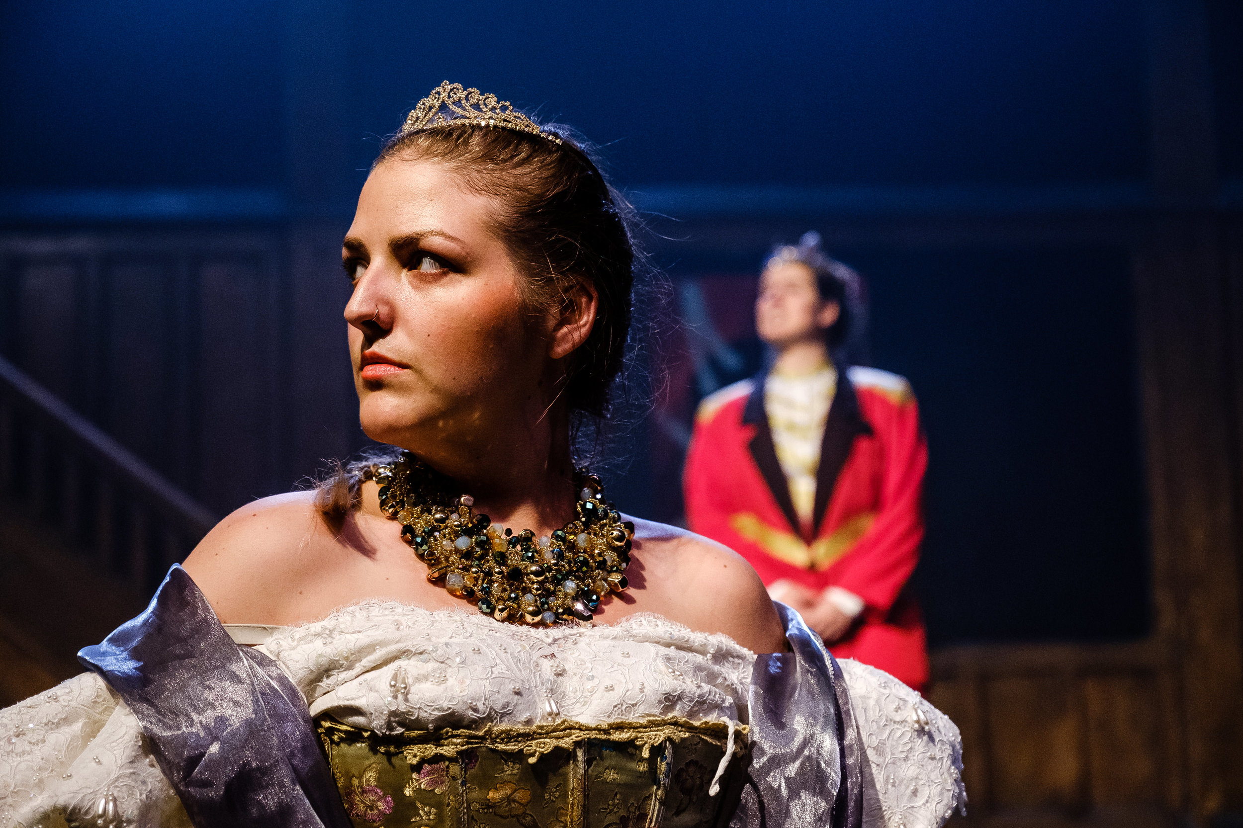 Kayla Ironside and Catherine Ouimet in  Wounds to the Face  (Randolph College for the Performing Arts). Photo by  Raph Nogal