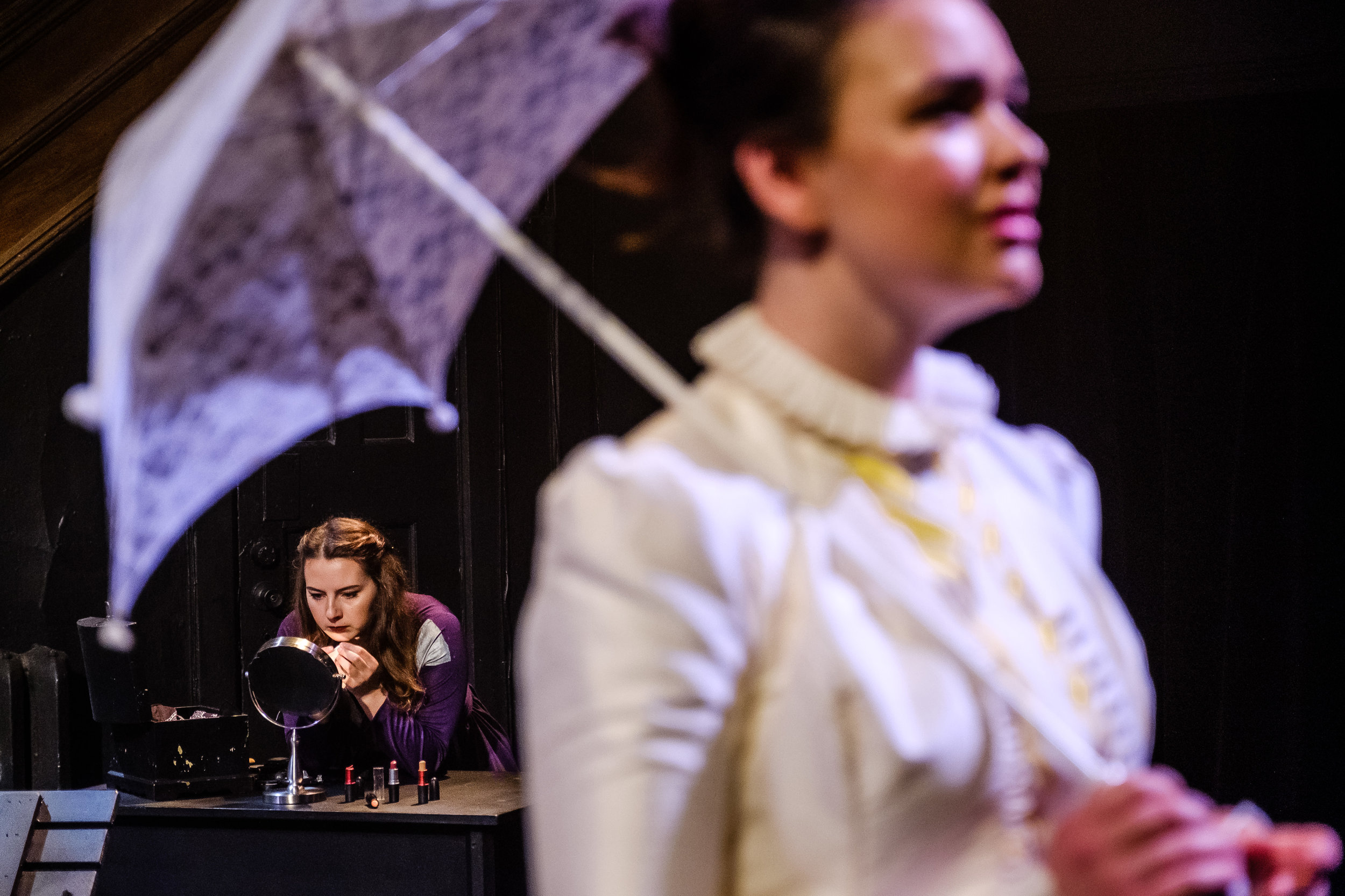 Adriana Longo and Abigail Carey in  Wounds to the Face  (Randolph College for the Performing Arts). Photo by  Raph Nogal