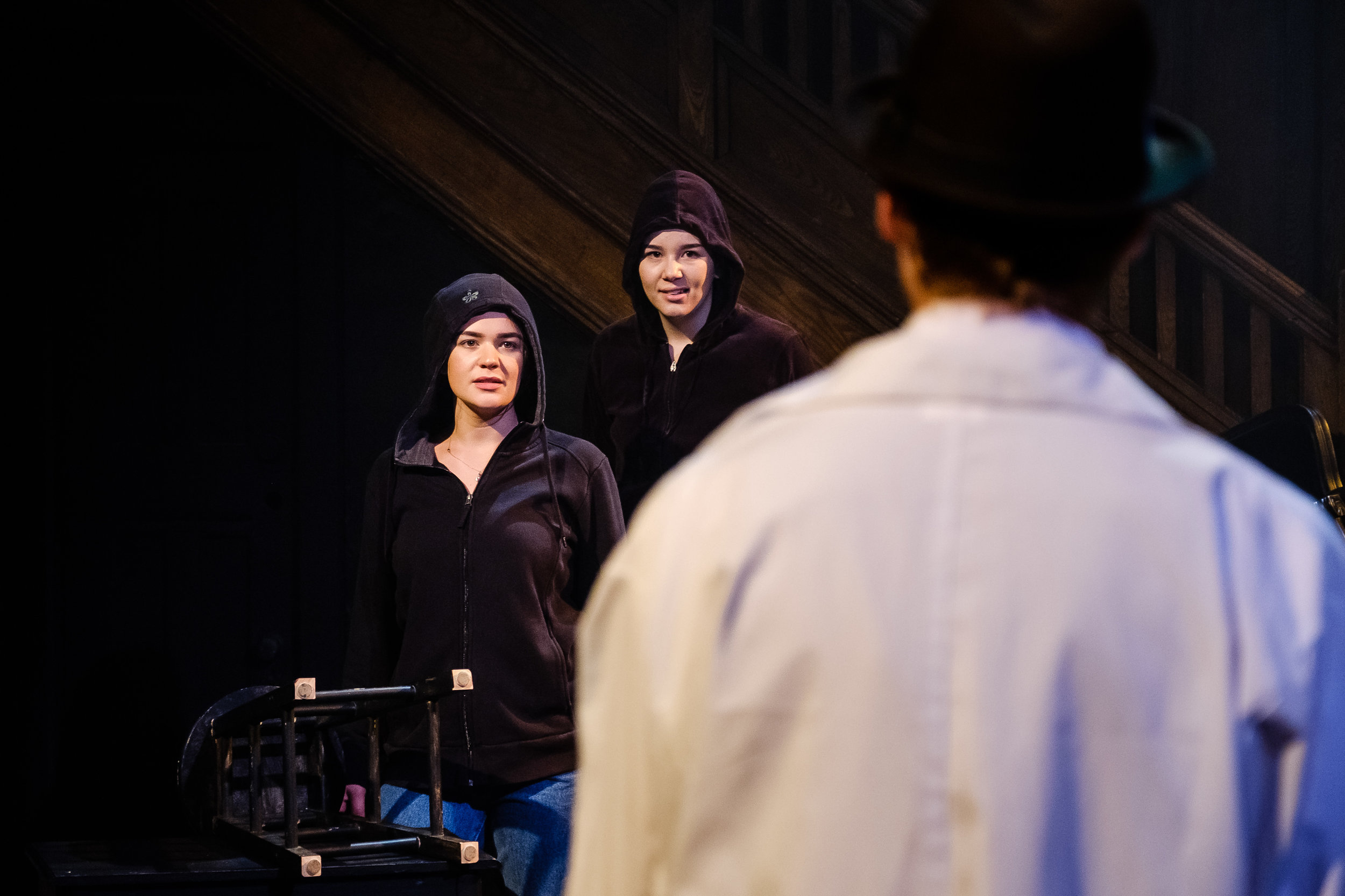 Adrianna Longo and Nikki Kuehnel in  Wounds to the Face  (Randolph College for the Performing Arts). Photo by  Raph Nogal