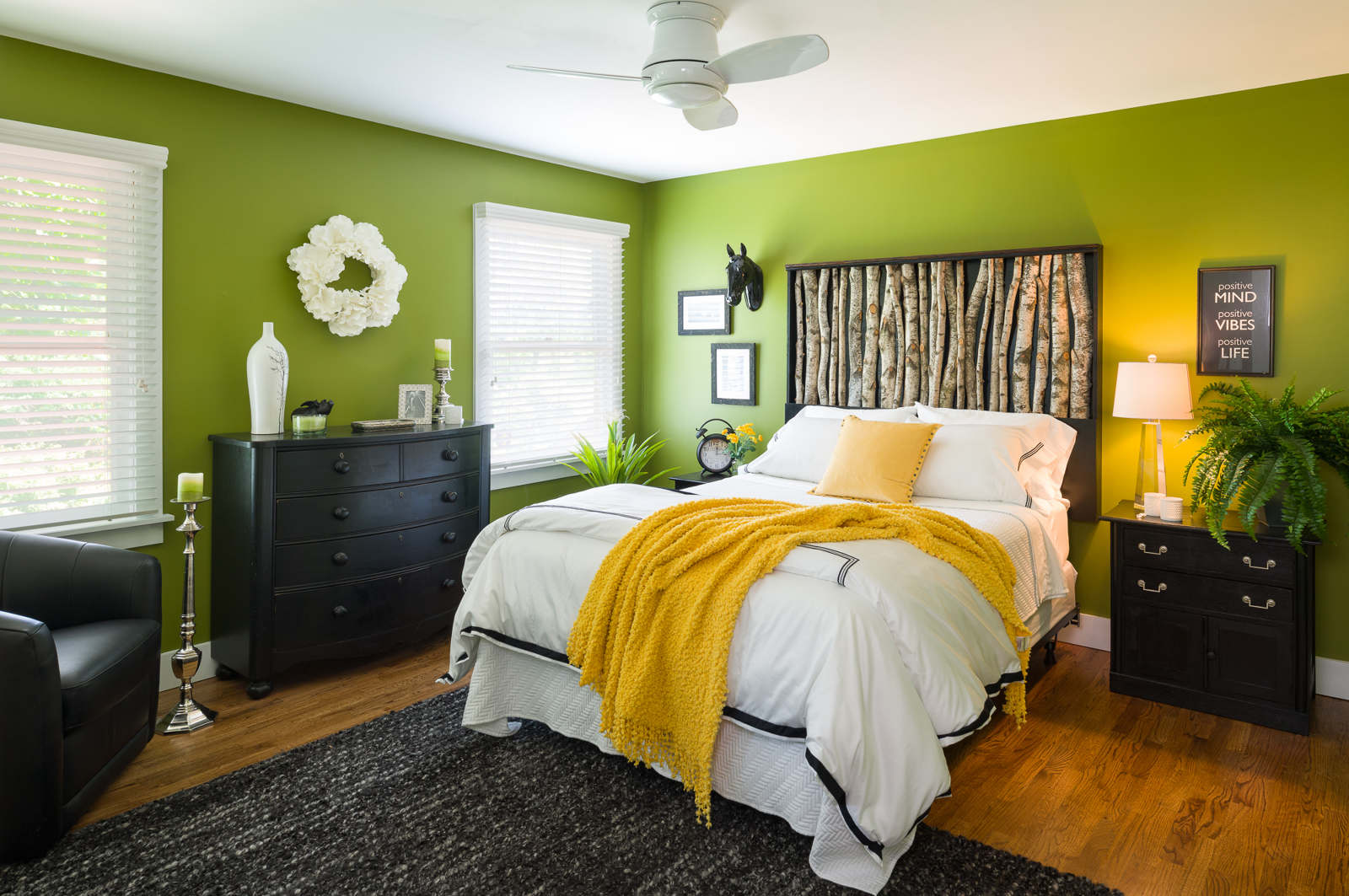 After  - Oh yes! This is the same bedroom. New paint and trim, a different fan, a custom bed, bedding, furnishings and accessories welcome guests to this country home.