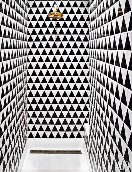 Bold shower tiles via  Architectural Digest