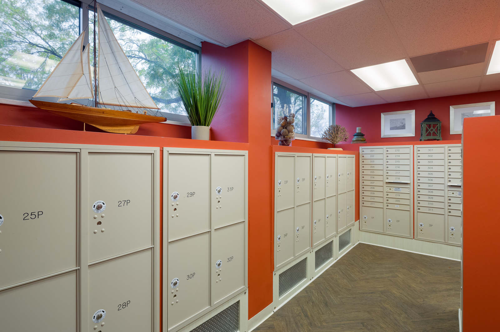After   - The mailroom is a new addition to the building's first floor.